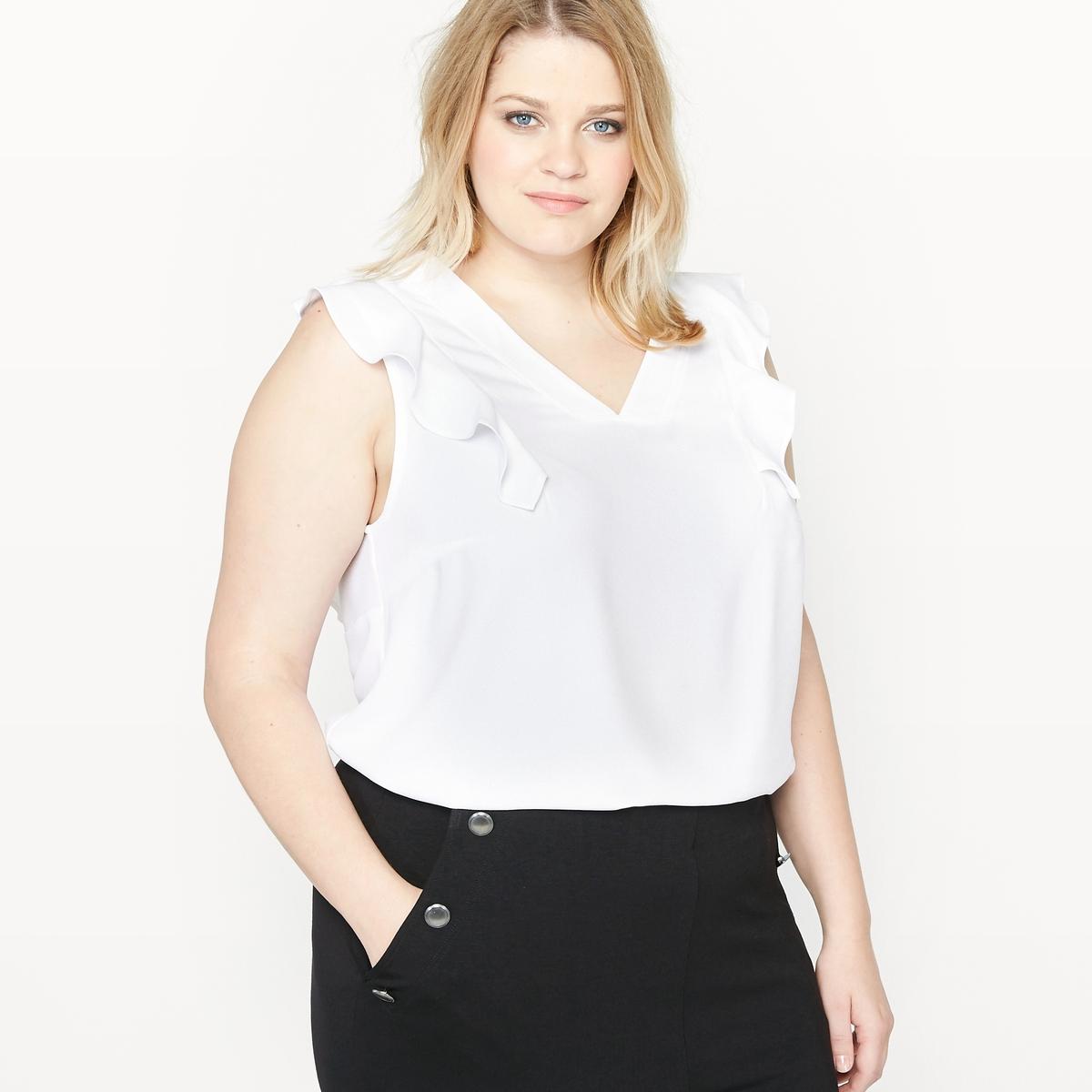 Блузка без рукавов с воланами