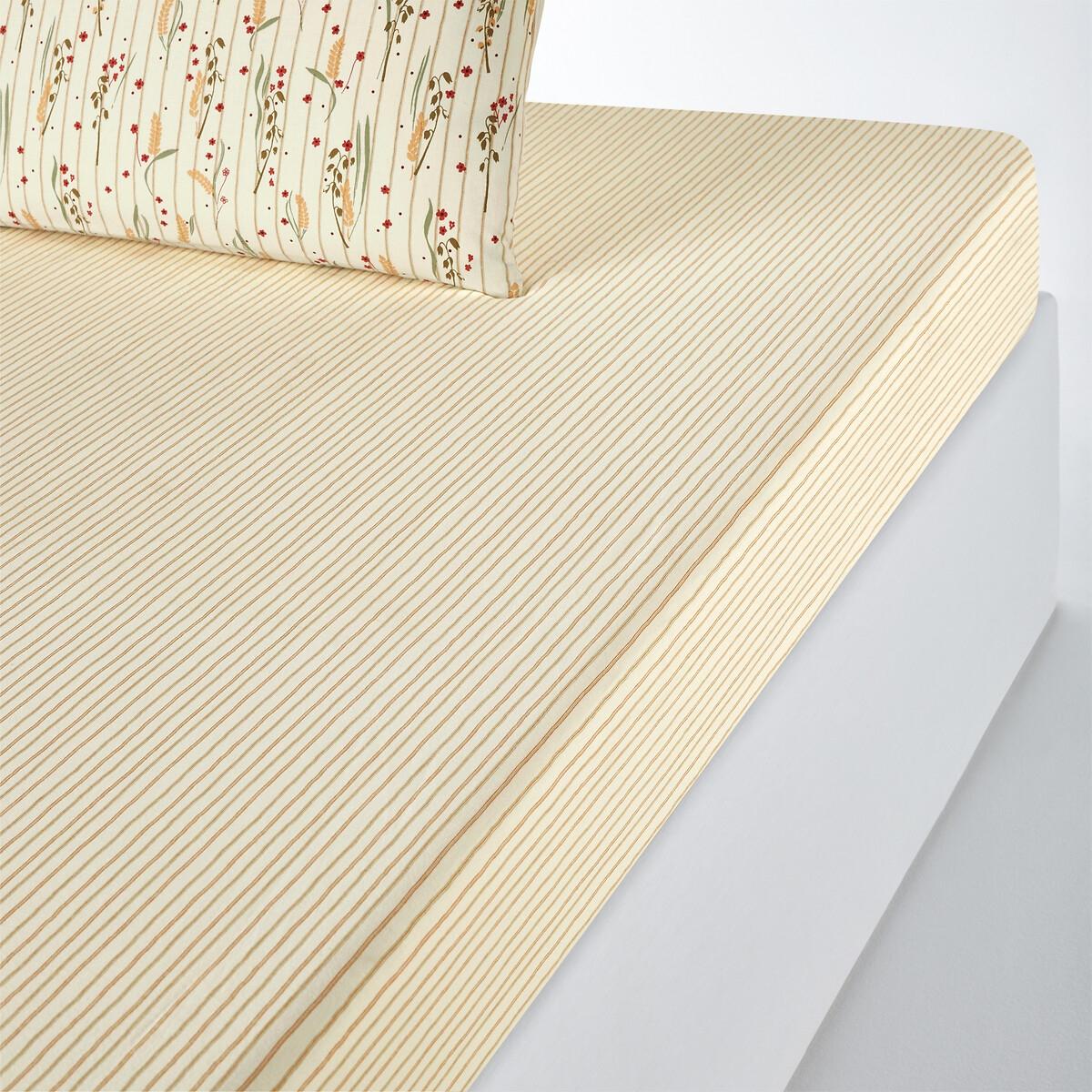 Простыня LaRedoute Натяжная из осветленного хлопка Billie 160 x 200 см зеленый недорого
