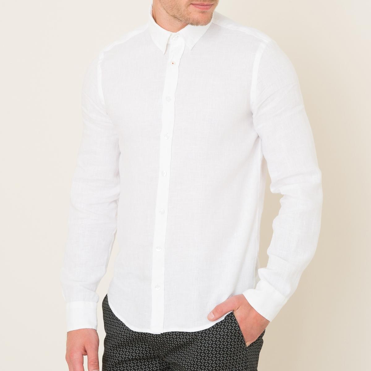 Рубашка льняная FORBANСостав и описание Материал : 100% ленМарка : HARRIS WILSON<br><br>Цвет: белый,хаки<br>Размер: M.M