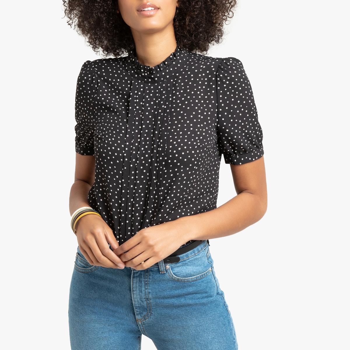 Блузка La Redoute С воротником-стойкой с принтом в горошек короткие рукава 44 (FR) - 50 (RUS) черный цены