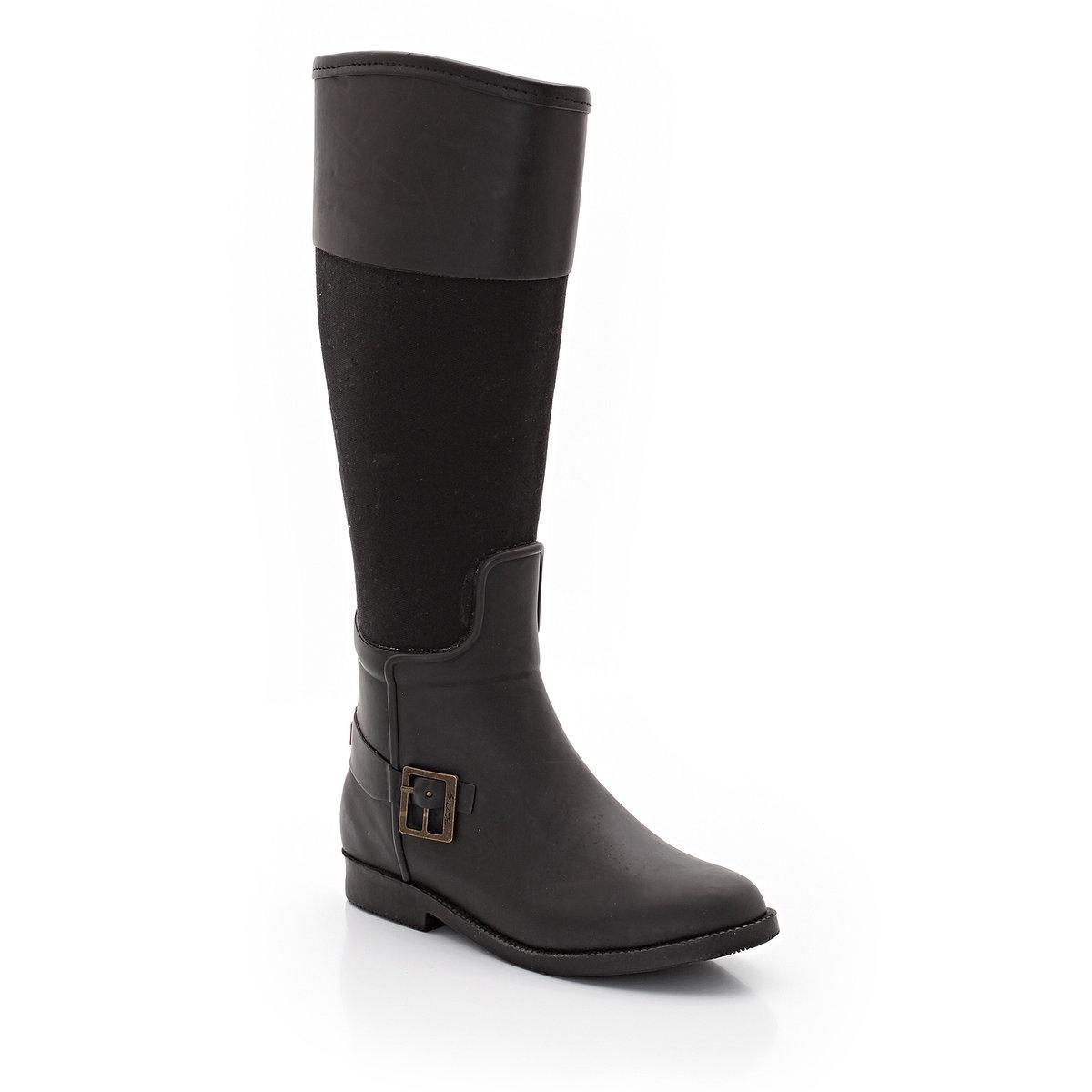 СапогиВысота каблука: ок.1 см. Высота голенища: ок. 41 см. Без застежки. Декоративный ремешок с пряжкой.Комфортная и стильная модель.<br><br>Цвет: черный<br>Размер: 36