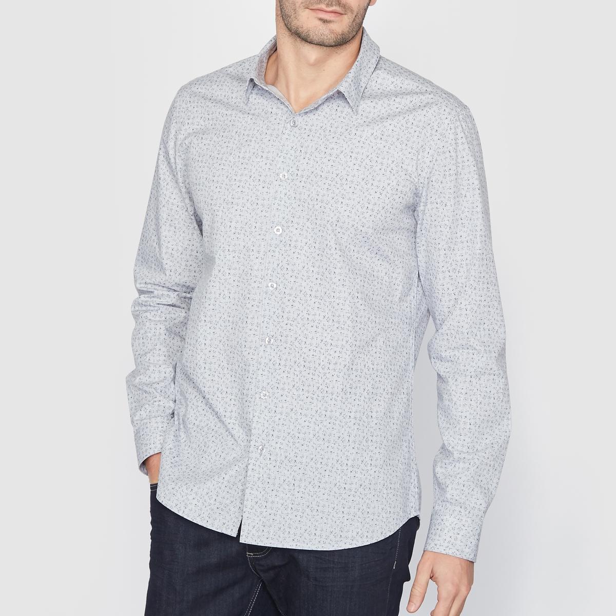 Рубашка с рисункомРубашка узкого покроя с принтом и воротником со свободными уголками. Закругленный низ . Рукава с пуговицами внизу.  Длина 77 см. Рубашка, 65% полиэстера, 35% хлопка.<br><br>Цвет: набивной рисунок<br>Размер: 45/46