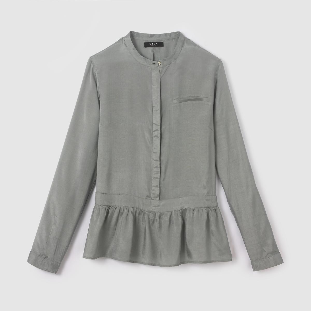 Блузка с длинными рукавами VISLAN LS SHIRTСостав и описание :Материал : 100% растительные волокнаМарка : VILA.<br><br>Цвет: бирюзовый<br>Размер: M