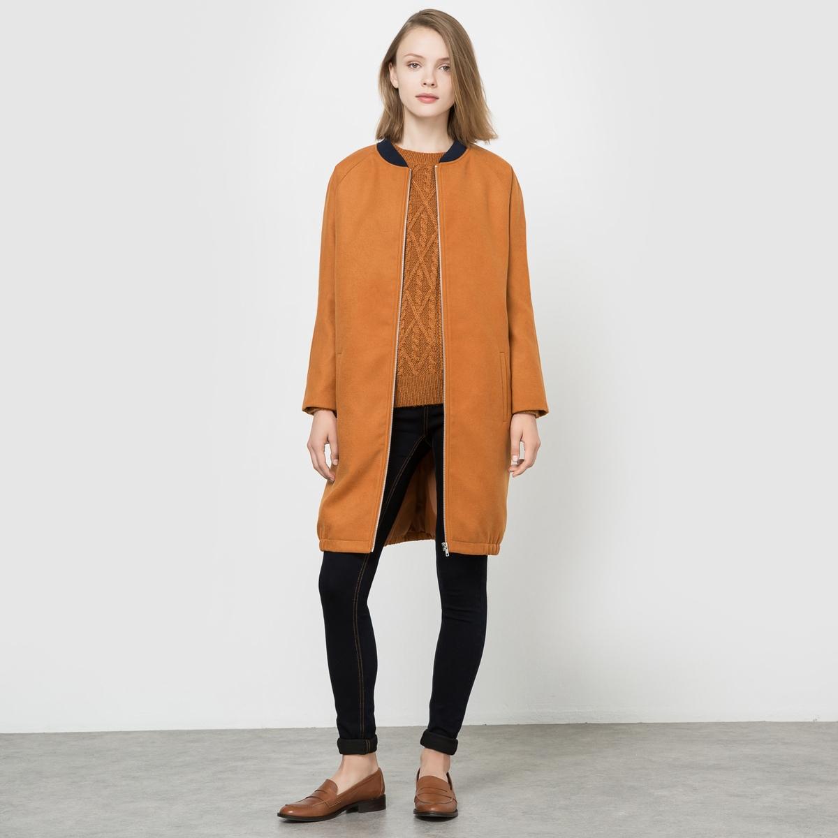 Пальто длинное в стиле бомберСостав и описаниеМатериал : 88% полиэстера, 10% вискозы, 2% эластана - Подкладка 100% полиэстераДлина : 115 смМарка : R Edition.УходСухая чистка / Стирка при 30°C / Стирать с одеждой подобного цвета<br><br>Цвет: карамель,темно-синий<br>Размер: 44 (FR) - 50 (RUS)