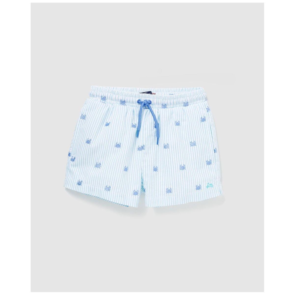 Maillot de bain bleu motif crabes