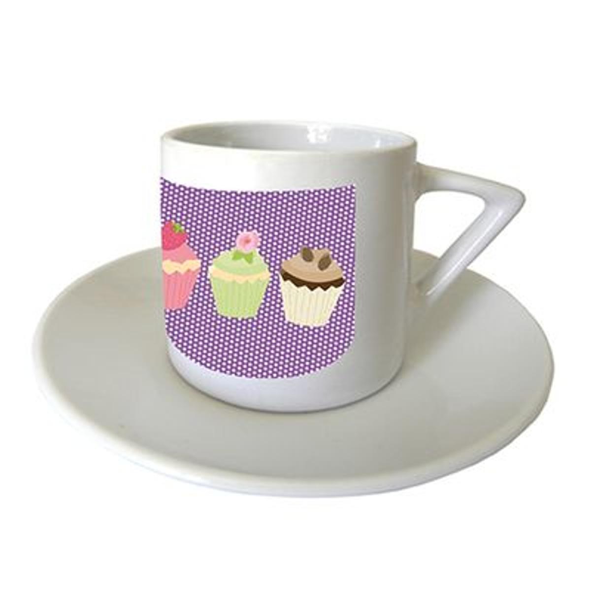 Set de 2 Tasses à café 3 cupcakes