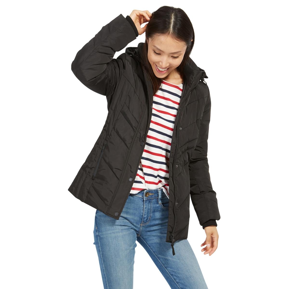 Куртка стеганая с капюшономДетали •  Длина  : укороченная   •  Капюшон  •  Застежка на молнию •  С капюшоном Состав и уход •  100% полиэстер •  Следуйте советам по уходу, указанным на этикетке<br><br>Цвет: черный<br>Размер: XL