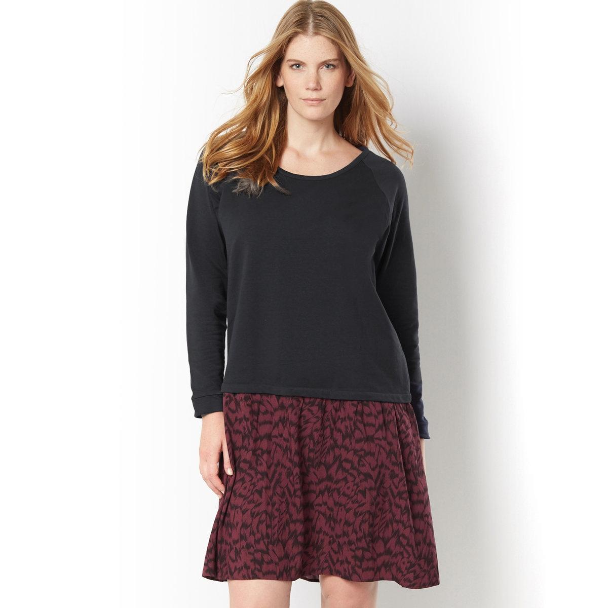 Платье-пуловерПлатье-пуловер. Платье 2 в 1 из двух материалов: непревзойденное удобство. Верх: однотонный пуловер с длинными рукавами. Низ: 100% вискозы, камуфляжный принт. Длинные рукава реглан.  95% хлопка, 5% эластана. Длина ок.100 см.<br><br>Цвет: черный наб. рисунок<br>Размер: 58 (FR) - 64 (RUS)