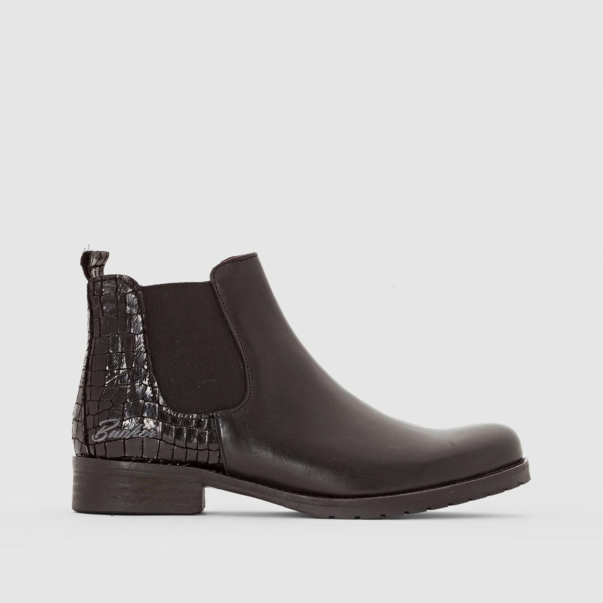 Ботинки, FRESAПодкладка: Кожа.          Стелька: Кожа.Подошва: Каучук.                        Высота каблука: 3 см.Высота голенища: 13 см.  Форма каблука: Широкая.Мысок: Круглый.Застежка: На резинке.<br><br>Цвет: черный<br>Размер: 38