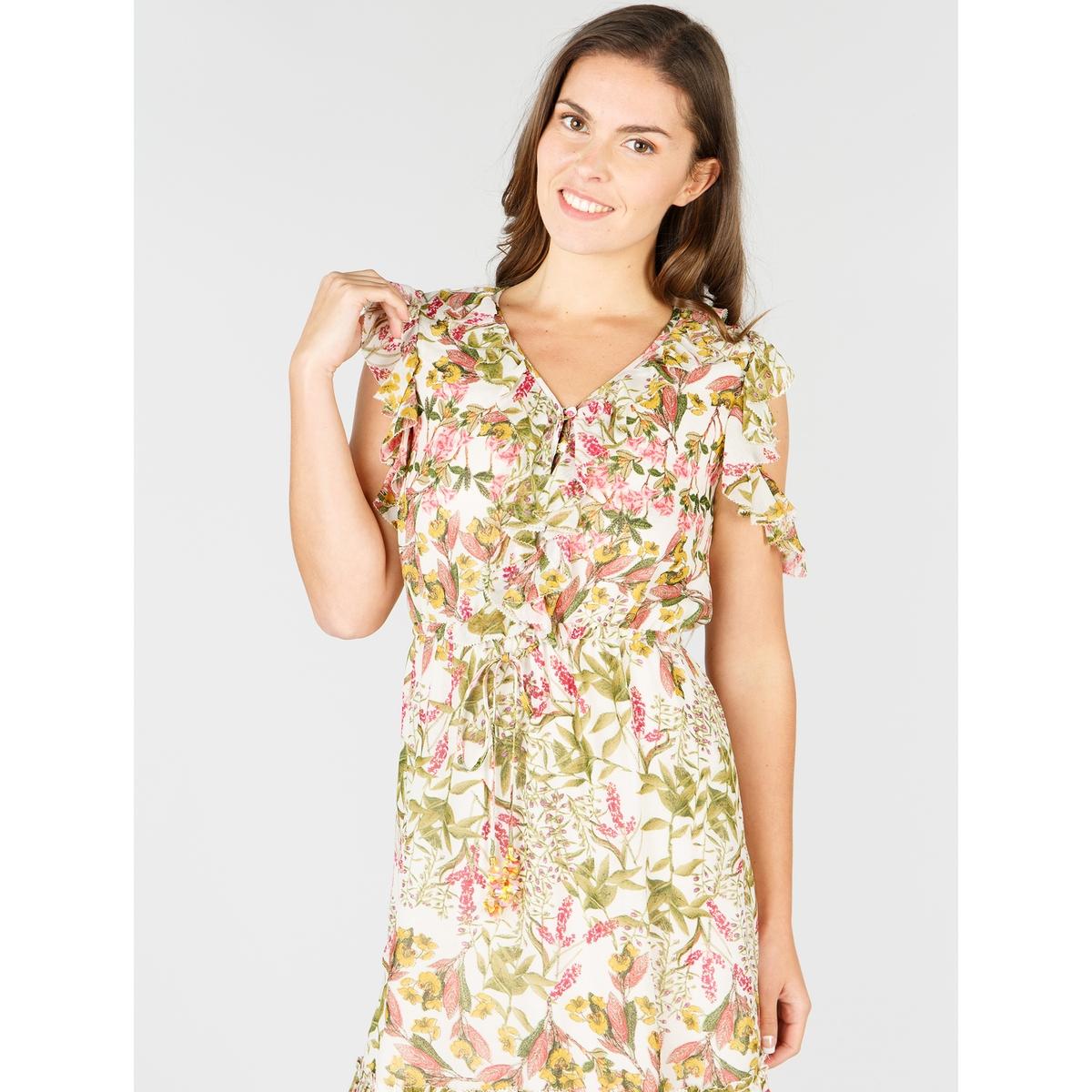 Vestido evasé e largo, estampado floral