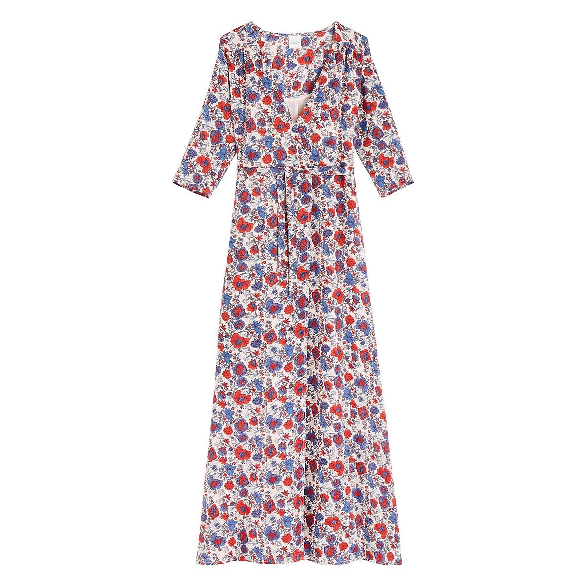 Платье La Redoute С запахом и принтом длинное MARIE LOUISE XS разноцветный