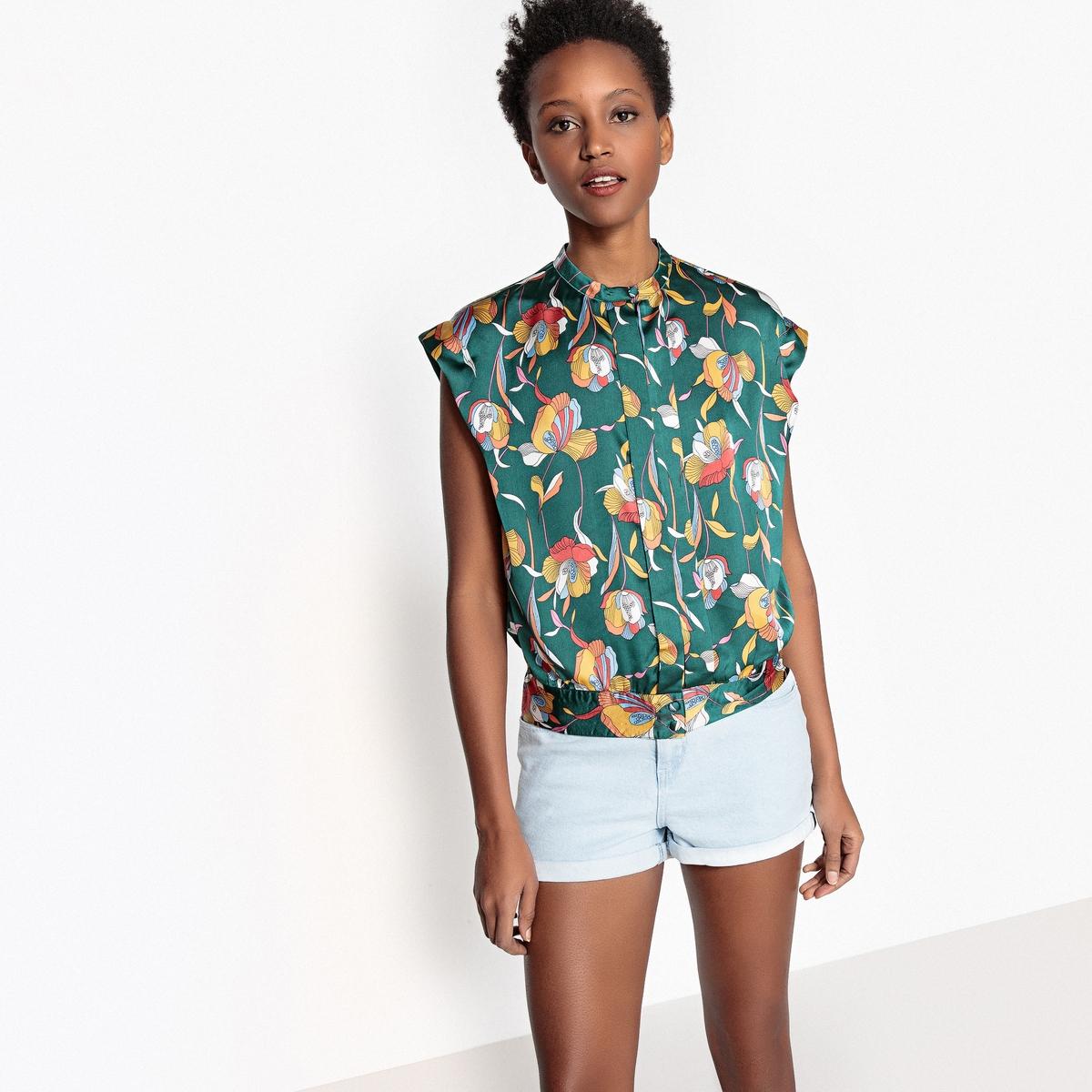Блузка со стоячим воротником и цветочным рисунком, без рукавов блузка однотонная со стоячим воротником и нагрудными карманами