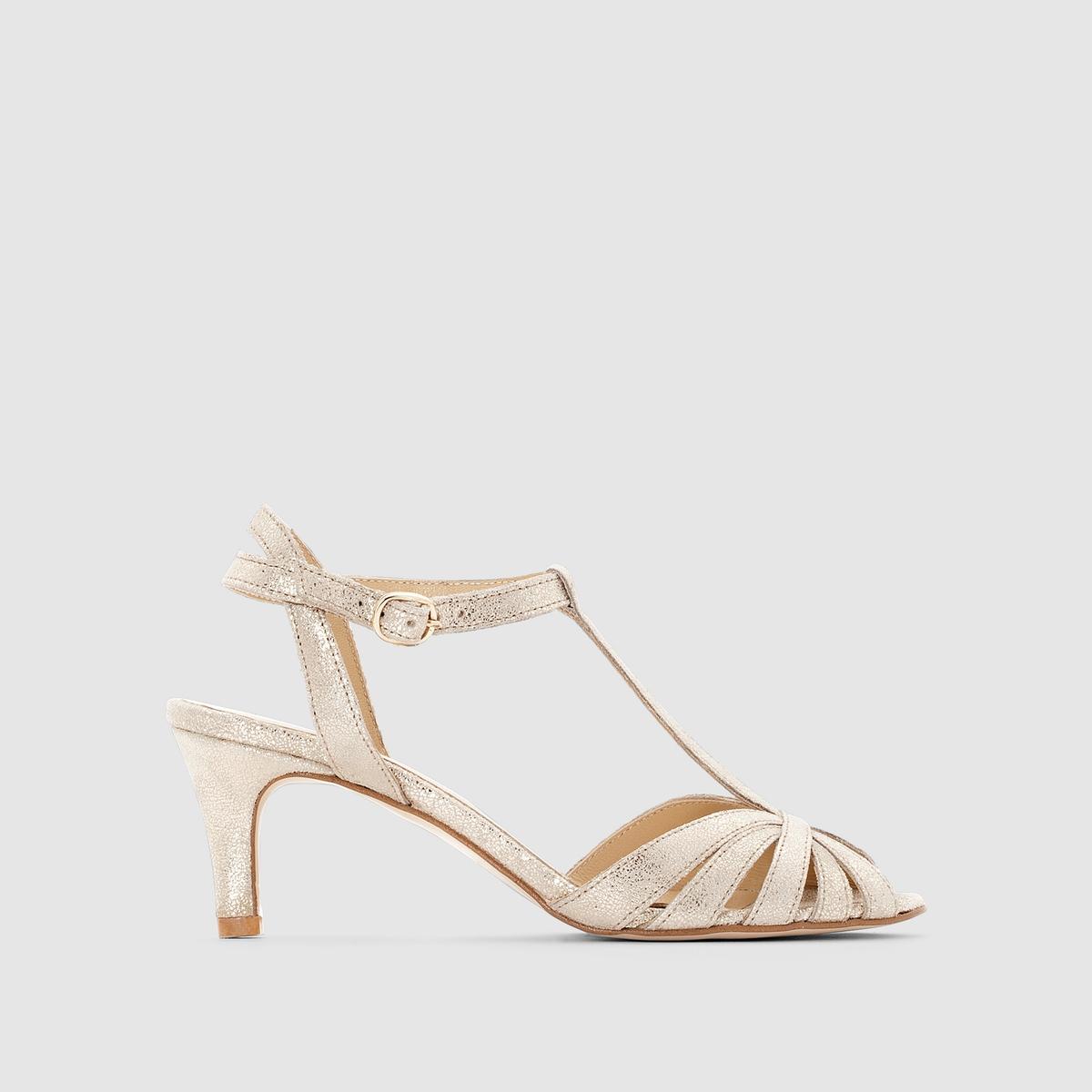 Босоножки из неотделанной велюровой кожи на каблуках JONAKПреимущества: не нужно искать, перед вами босоножки на каблуках из велюровой кожи, которые не оставят вас безразличными благодаря своей боковой пряжке и каблуку необходимой длины для сохранения легендарного комфорта от JONAK.<br><br>Цвет: золотистый<br>Размер: 36