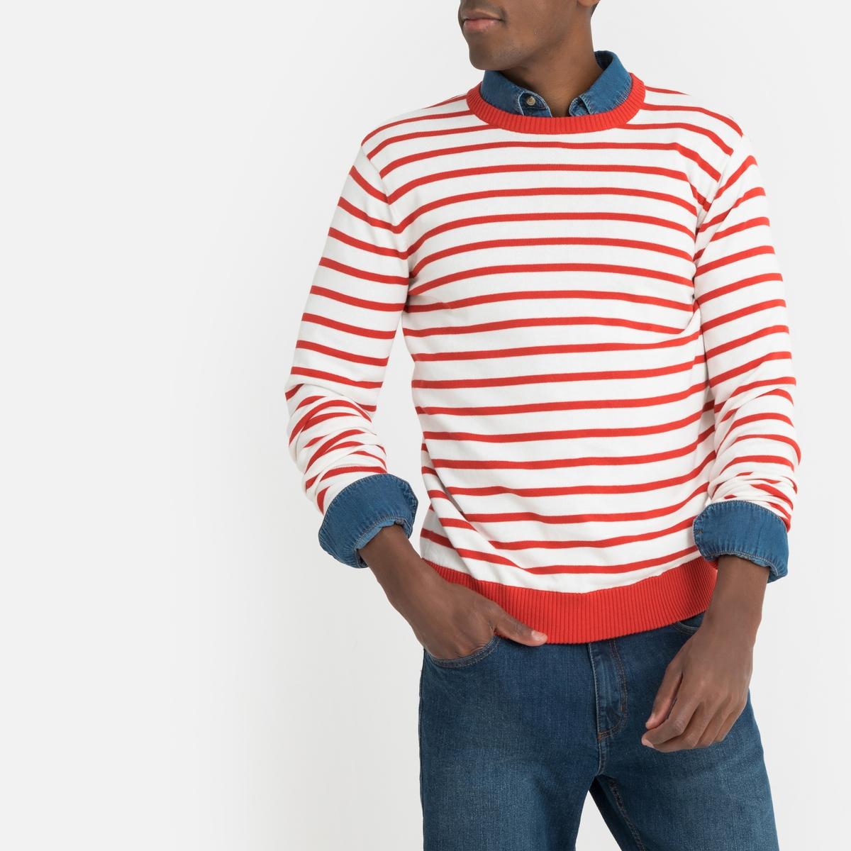 цена Пуловер La Redoute В полоску в морском стиле с круглым вырезом из тонкого трикотажа M каштановый онлайн в 2017 году