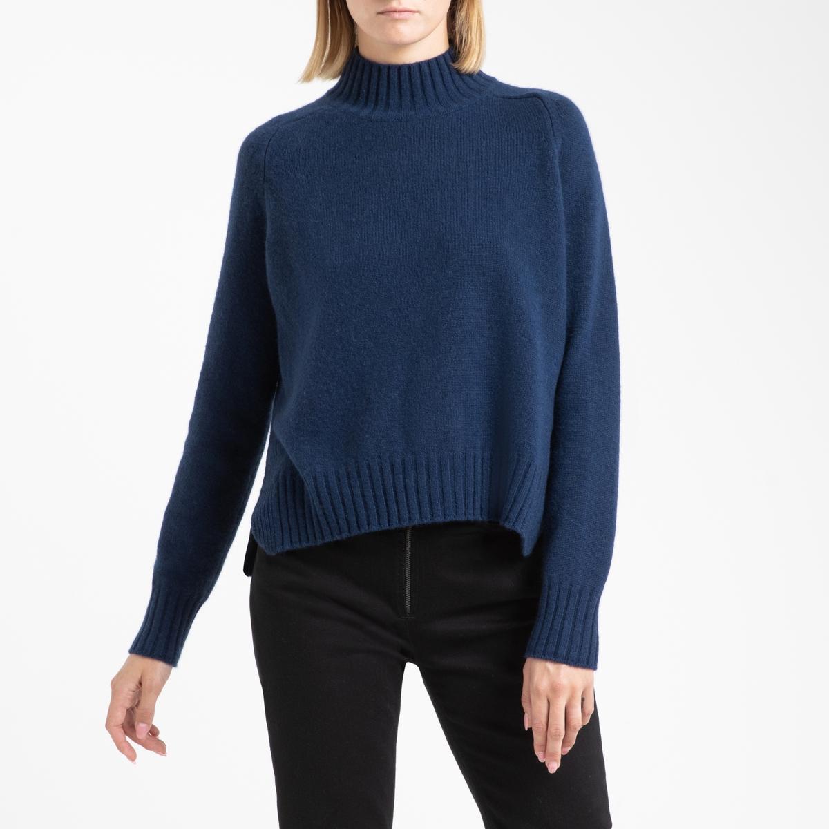 цена на Пуловер La Redoute Кашемировый с воротником-стойка из тонкого трикотажа LEONIE 3(L) синий