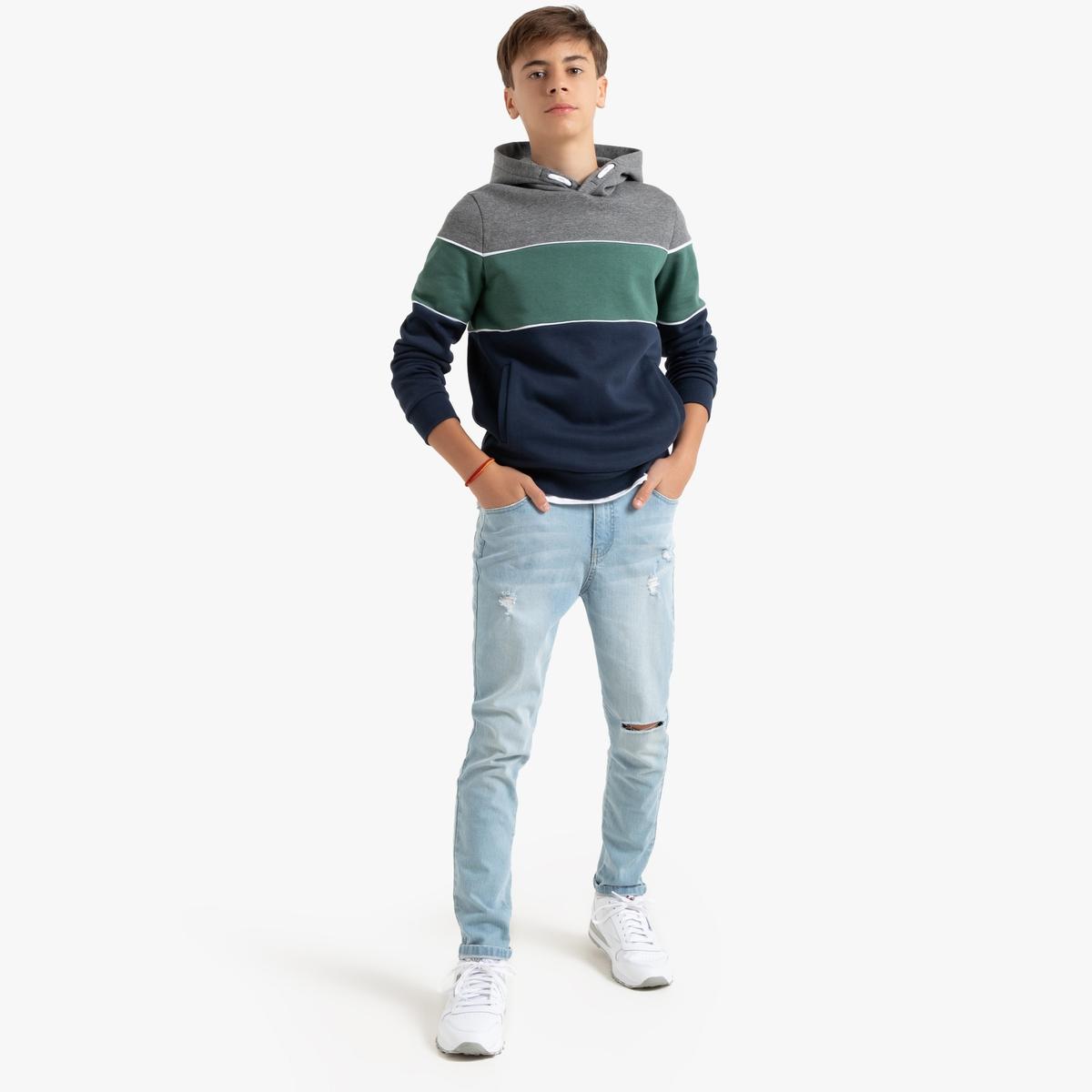 Jeans slim efeito usado, 10-18 anos