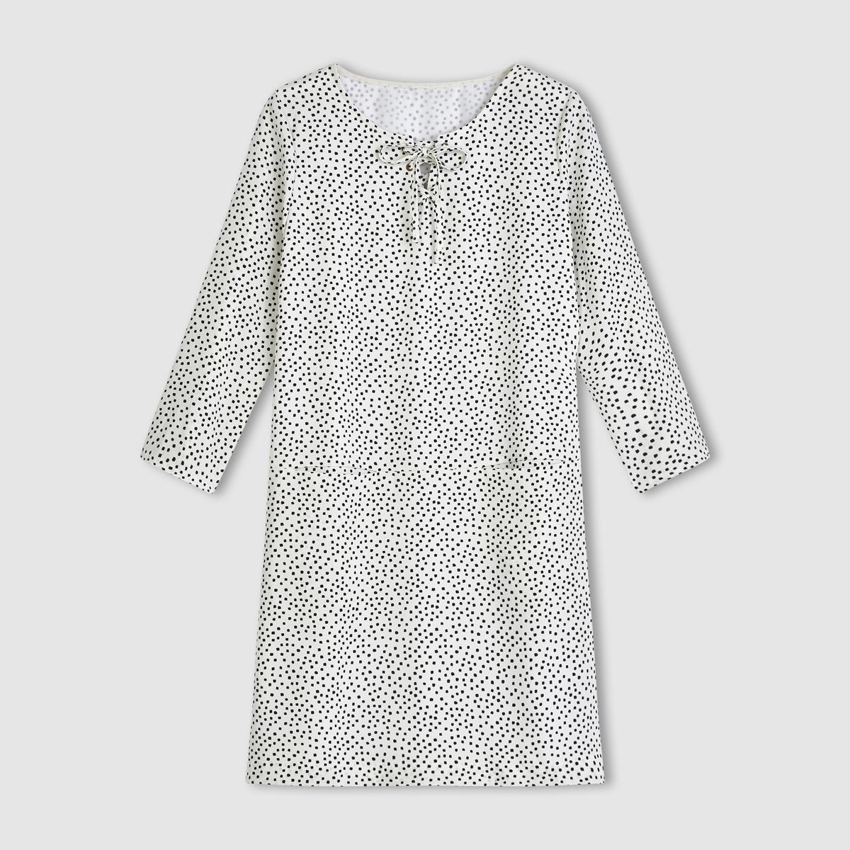 Платье с рукавами 3/4 и вырезом со шнуровкойПлатье .  100% полиэстер . Длинные рукава . 2 накладных кармана. Вырез со шнуровкой . Длина 90 см .<br><br>Цвет: экрю/черный горошек<br>Размер: 40 (FR) - 46 (RUS)