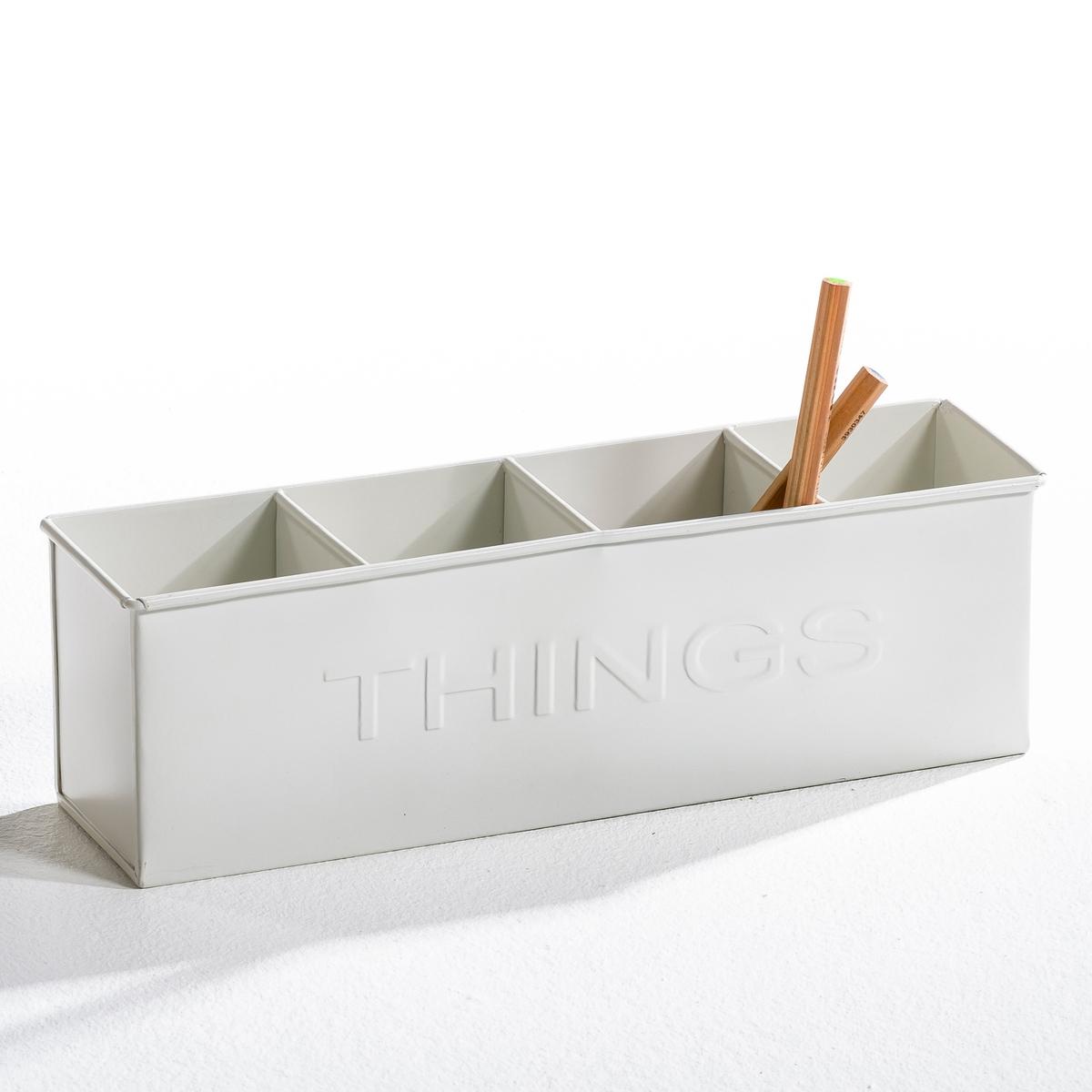 Стакан для карандашей AM.PM.Стакан для карандашей Choyse (а также для столовых приборов и другой мелочи можно использовать как кашпо). Из металла оцинкованного или крашеного. Рельефная надпись THINGS с двух сторон. 4 отделения. Размер: ширина 32 см х высота 10 см х глубина 8 см.<br><br>Цвет: белый,желтый,серый,черный<br>Размер: 32 x 8 x 10 см