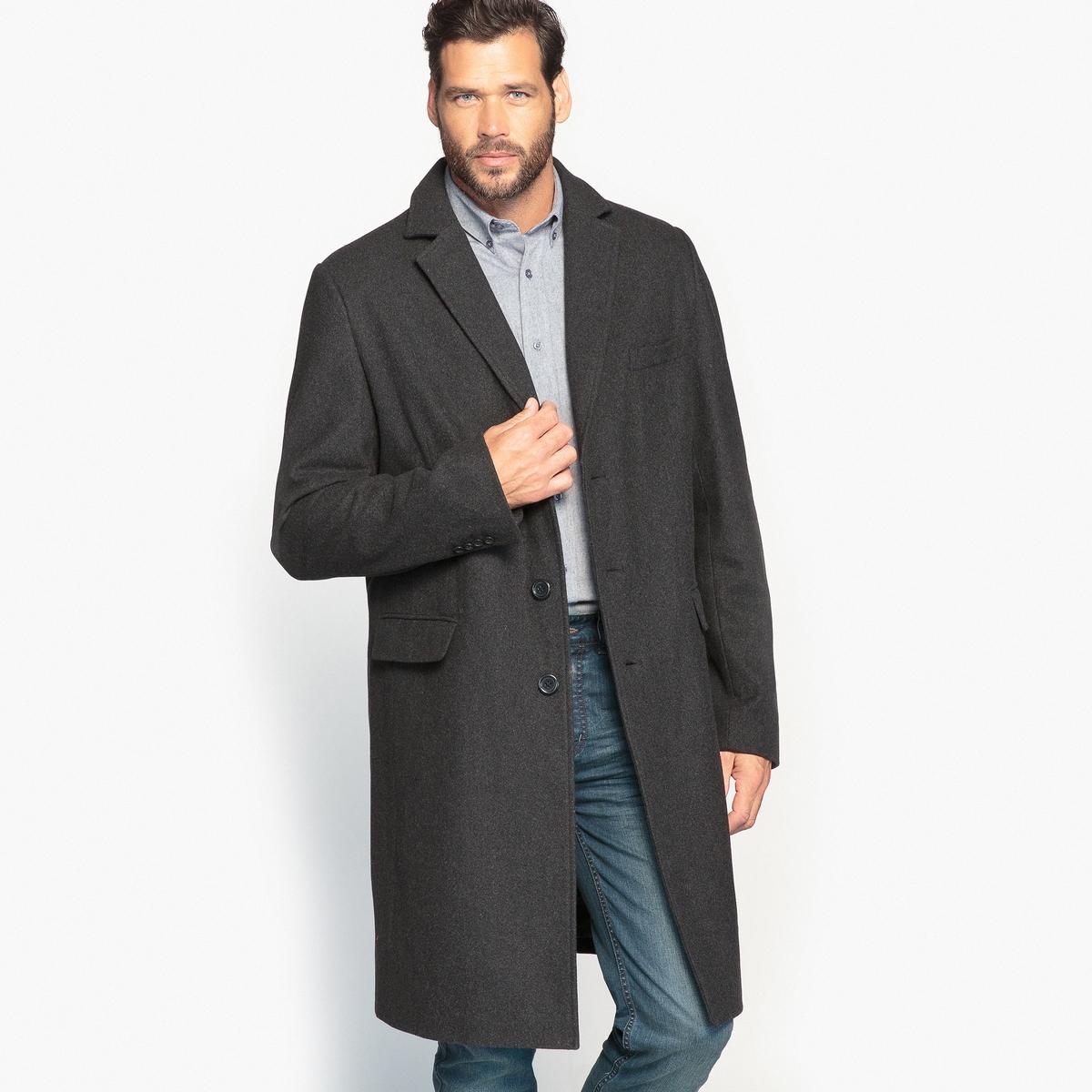 Пальто из шерстяного драпаОписание:Пальто из шерстяного драпа является неотъемлемым предметом мужского гардероба. Подойдет под образ в любом стиле: классическом или городском.Детали •  Длина : удлиненная модель •  Воротник-поло, рубашечный  • Застежка на пуговицыСостав и уход •  3% вискозы, 62% шерсти, 6% акрила, 2% хлопка • Не стирать •  Допускается чистка любыми растворителями / отбеливание запрещено •  Не использовать барабанную сушку •  Не гладить  Товар из коллекции больших размеров •  2 кармана с клапанами.<br><br>Цвет: антрацит