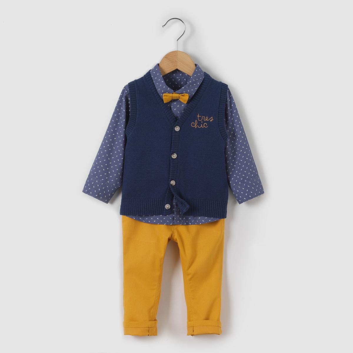 Комплект: рубашка, жилет и брюки 1 мес-3 летКомплект: рубашка, жилет без рукавов и брюки  . Трикотажный жилет без рукавов . Застежка на пуговицы. Вышивка спереди. Отделка в виде вязки в рубчик. Рубашка из поплина с принтом . Небольшой съемный бантик-бабочка  . Закругленный низ. Брюки из саржи . 2 кармана спереди. 1 задний карман . Застежка на пуговицу и пояс регулируется внутренней резинкой на пуговице .Состав и описаниеМатериал: 100% хлопок.Марка    R mini УходСтирать и гладить с изнанкиМашинная стирка при 30°С на умеренном режиме с одеждой схожих цветовМашинная сушка на умеренном режимеГладитьпри умереннойтемпературе<br><br>Цвет: желтый/ синий<br>Размер: 18 мес. - 81 см
