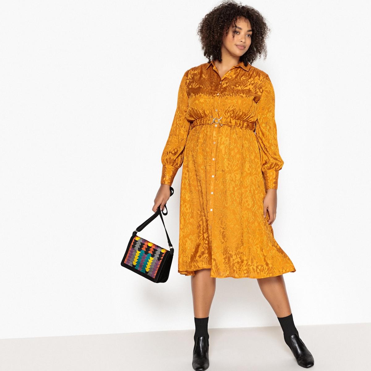 Платье-рубашка La Redoute Расклешенное длина миди 46 (FR) - 52 (RUS) желтый