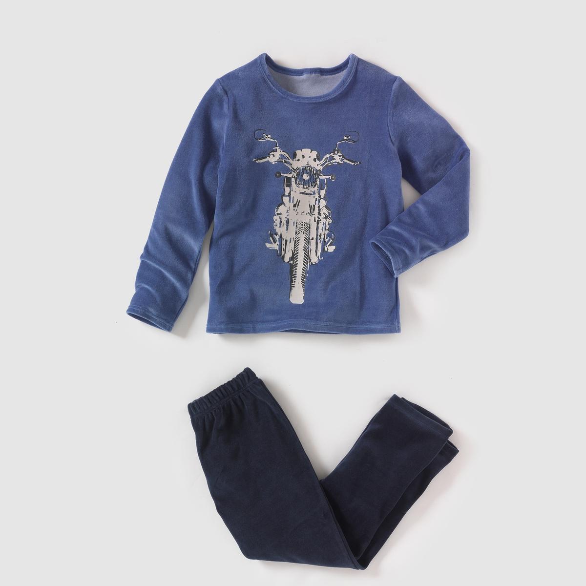 Пижама из велюра с рисунком, 2-12 лет
