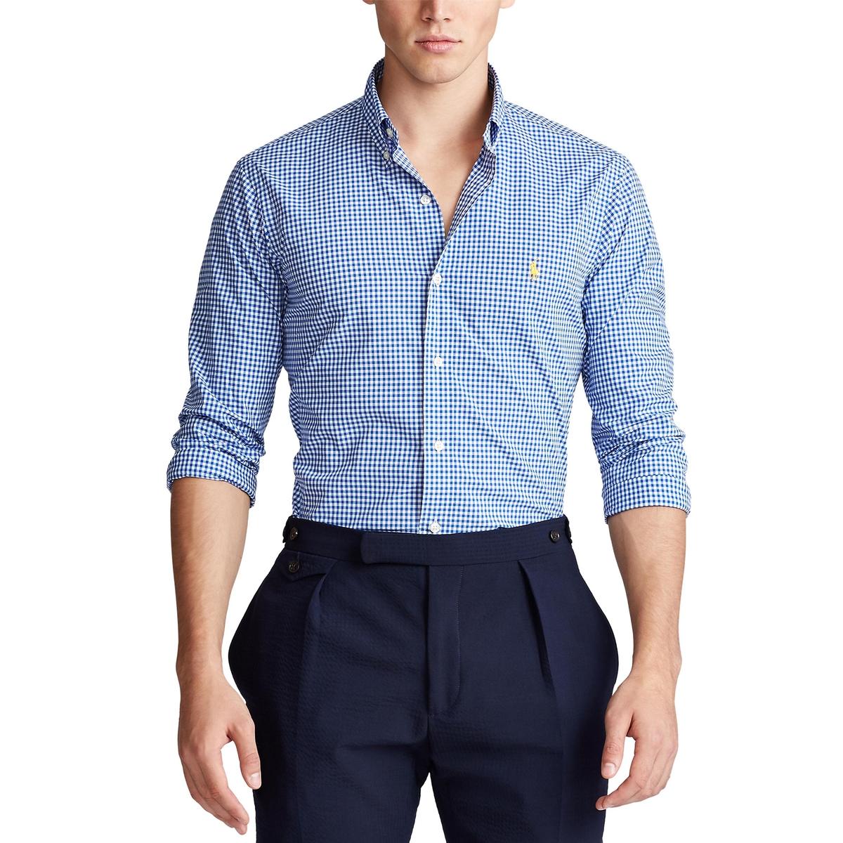 Рубашка La Redoute Узкого покроя в клетку из поплина XL синий
