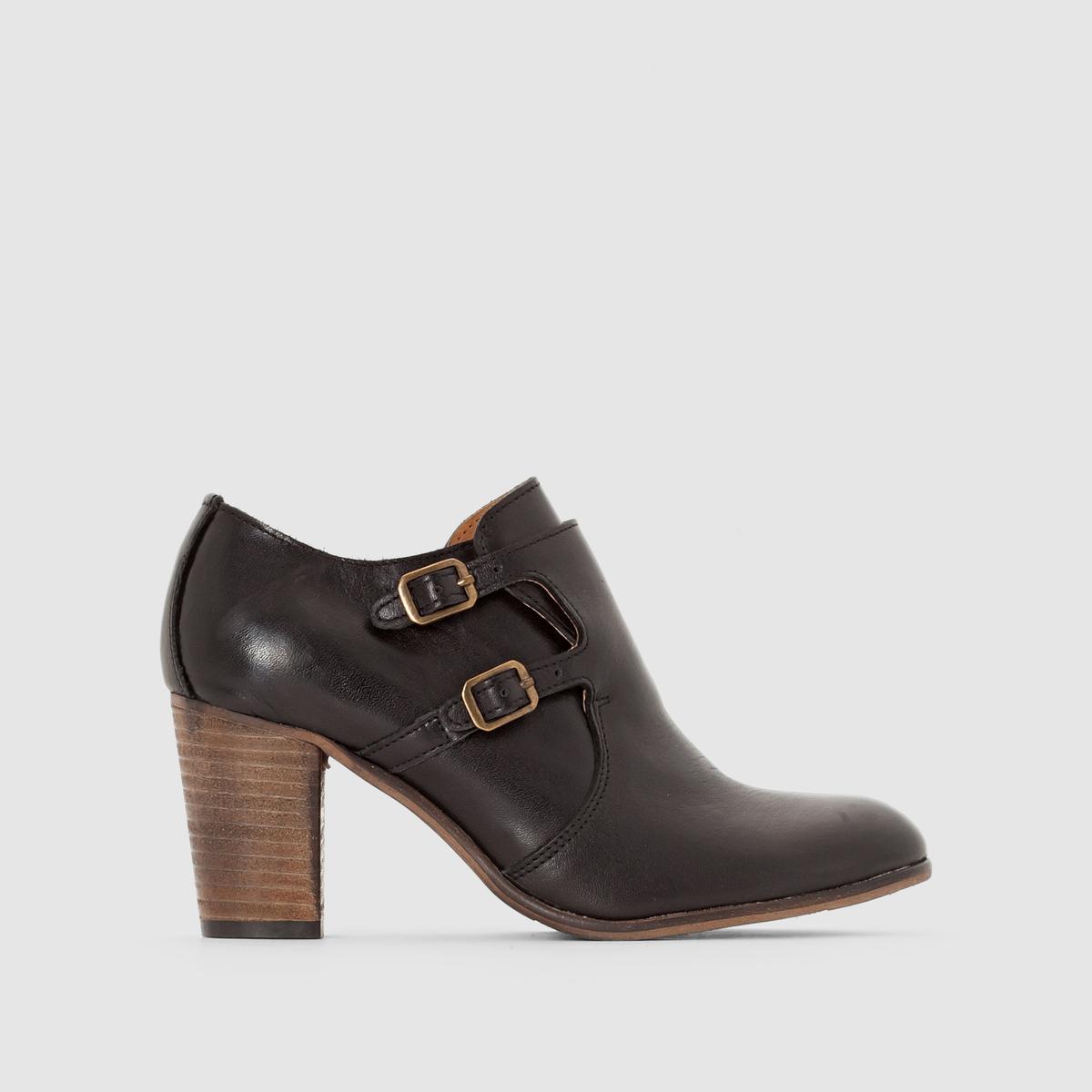 Ботинки-дерби кожаные на каблуке и с клапаном DailymocВерх/ Голенище: Кожа         Подкладка: Неотделанная кожа         Стелька: Неотделанная кожа         Подошва: Неолит         Высота каблука: Высокий (7 - 9 см)         Высота каблука: 5 см         Застежка: На молнии<br><br>Цвет: черный<br>Размер: 38