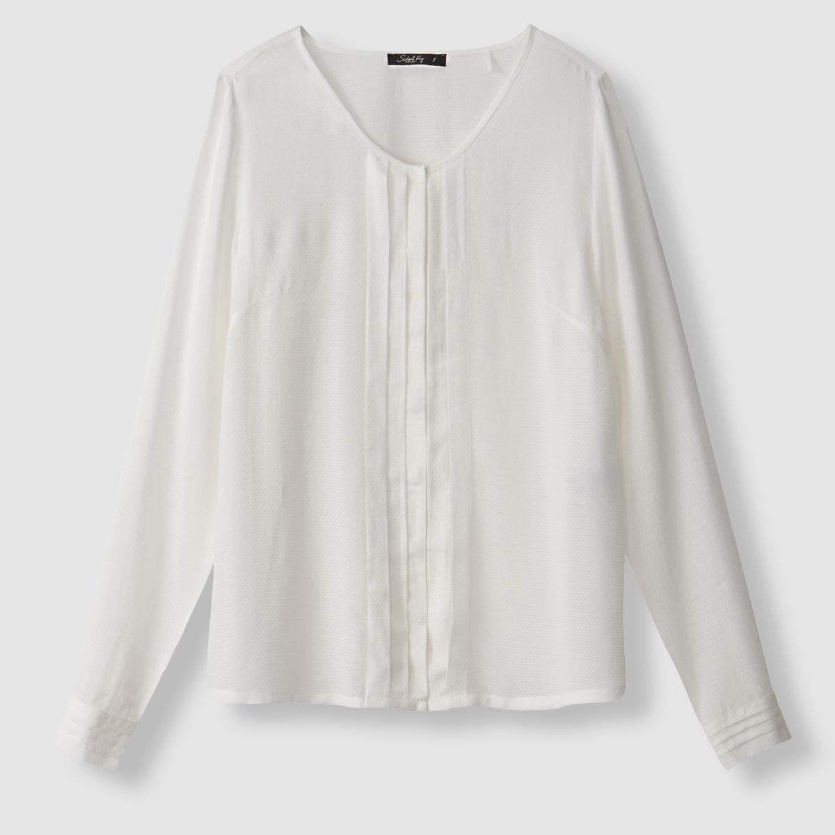 Блузка с длинными рукавами и плиссировкой, CELIANEСостав и описаниеМарка : SCHOOL RAG.Модель : CELIANEМатериал : 100% вискозы<br><br>Цвет: белый<br>Размер: M
