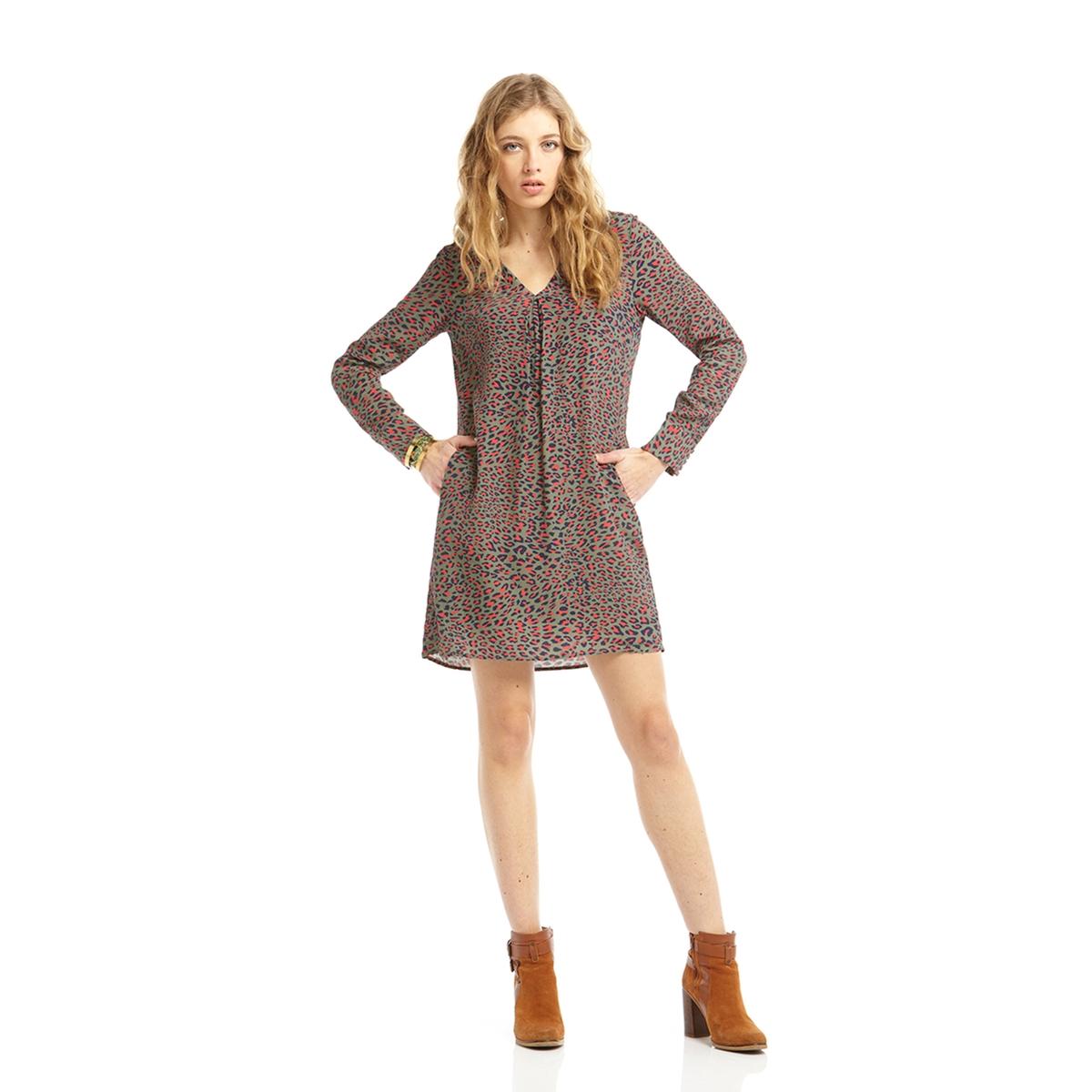 Платье с рисунком,длинные рукаваПлатье с рисунком от CHARLISE. Длинные рукава с застежкой на пуговицы.Состав и описаниеМарка:      CHARLISE.Материал:     100% вискоза.<br><br>Цвет: хаки<br>Размер: 42 (FR) - 48 (RUS)