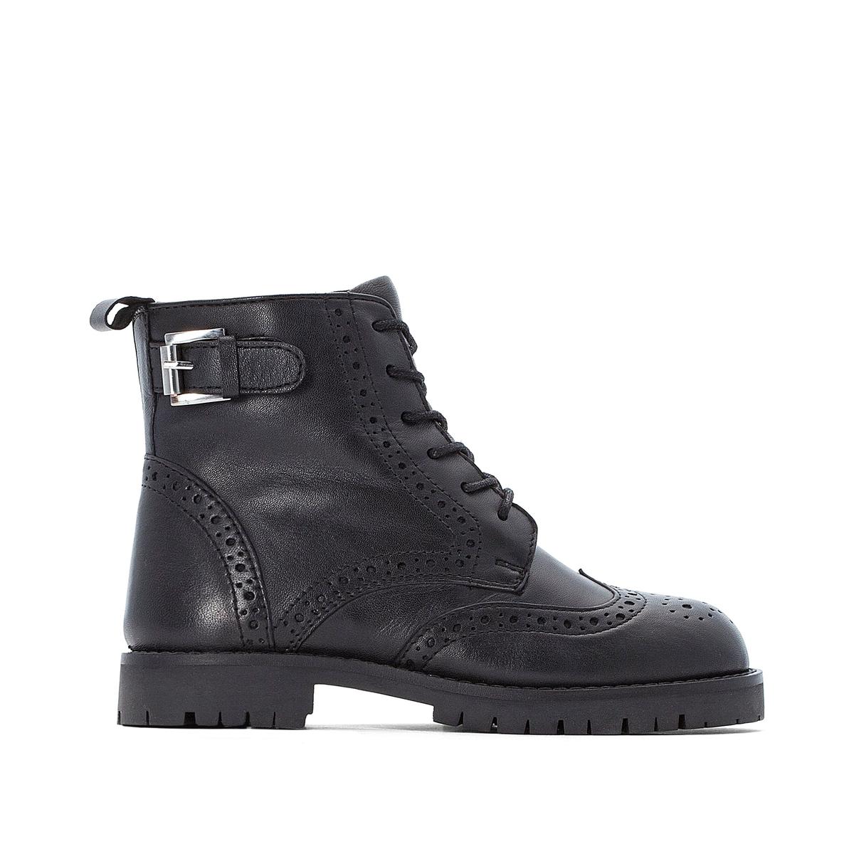 Ботинки La Redoute На шнуровке из кожи с пряжкой разм 26 черный портфель сумка кожа комбинированный черный с тёмно коричневой отделкой разм 38х11х30 см