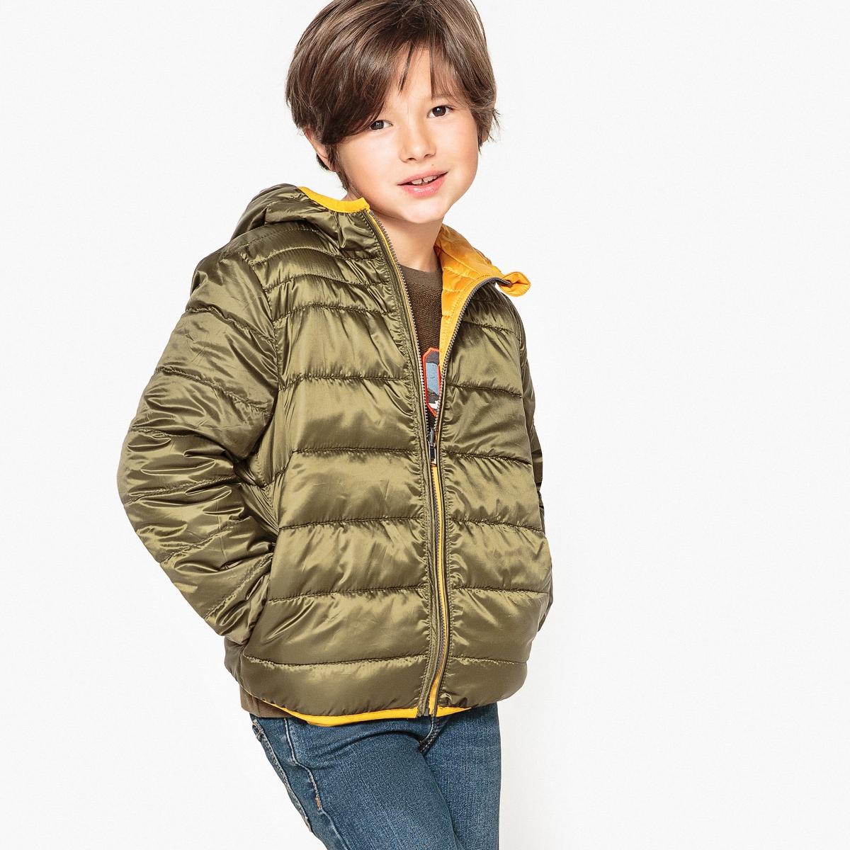 цена Куртка La Redoute Стеганая двусторонняя с капюшоном 12 лет -150 см желтый онлайн в 2017 году