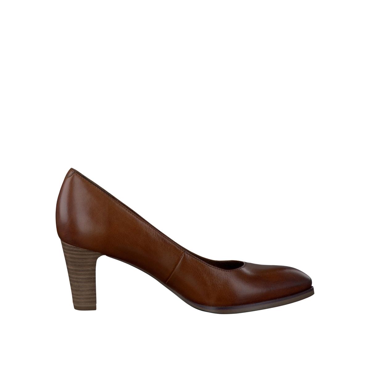 Туфли из кожи на широком каблуке