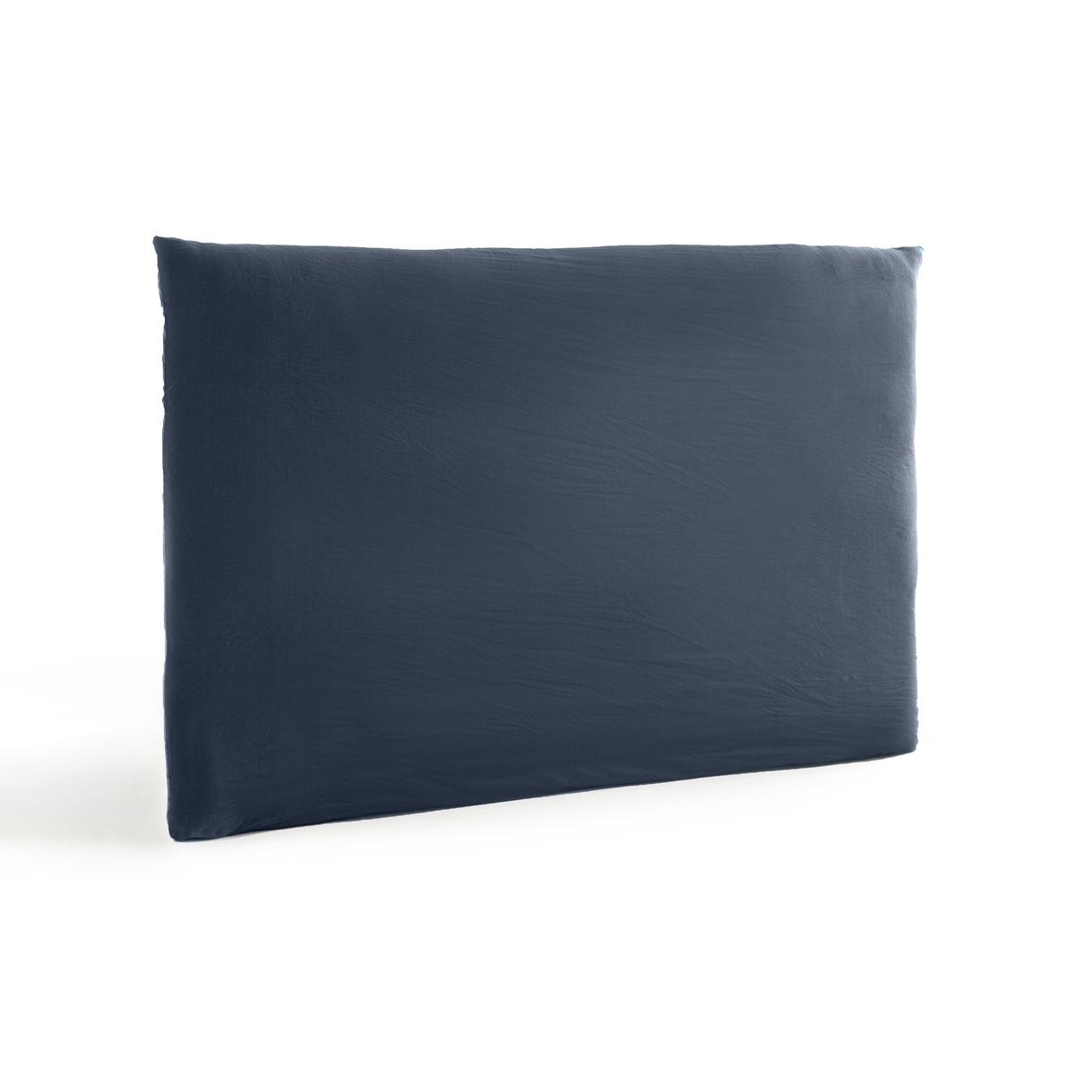 Чехол LaRedoute На изголовье кровати из осветленного льна Mereson 180 см синий