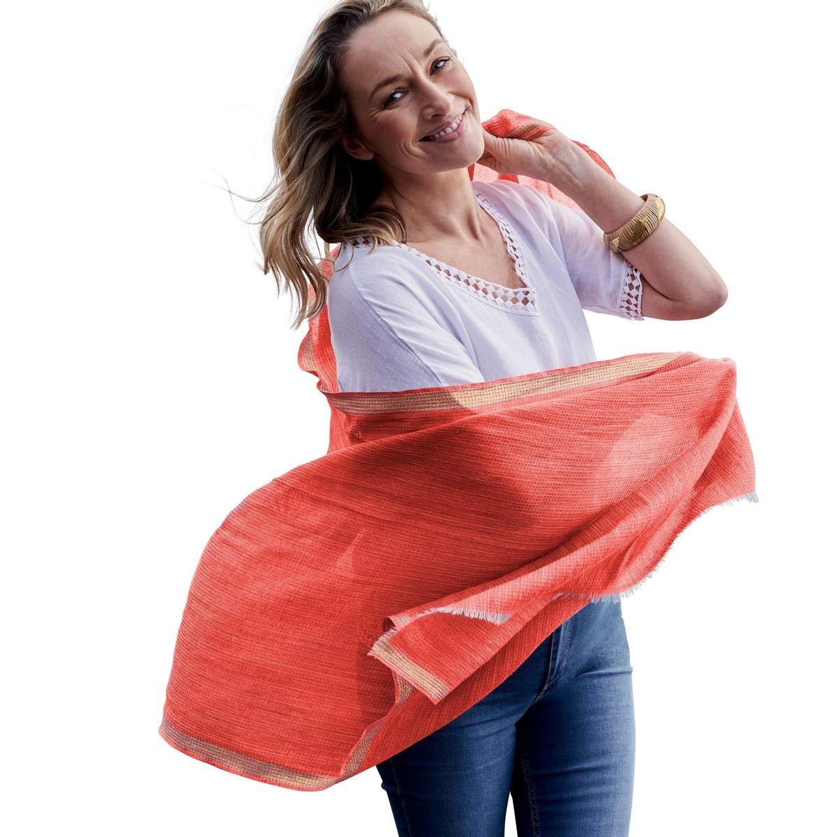 Foulard bordure Fil textile laine mélangée