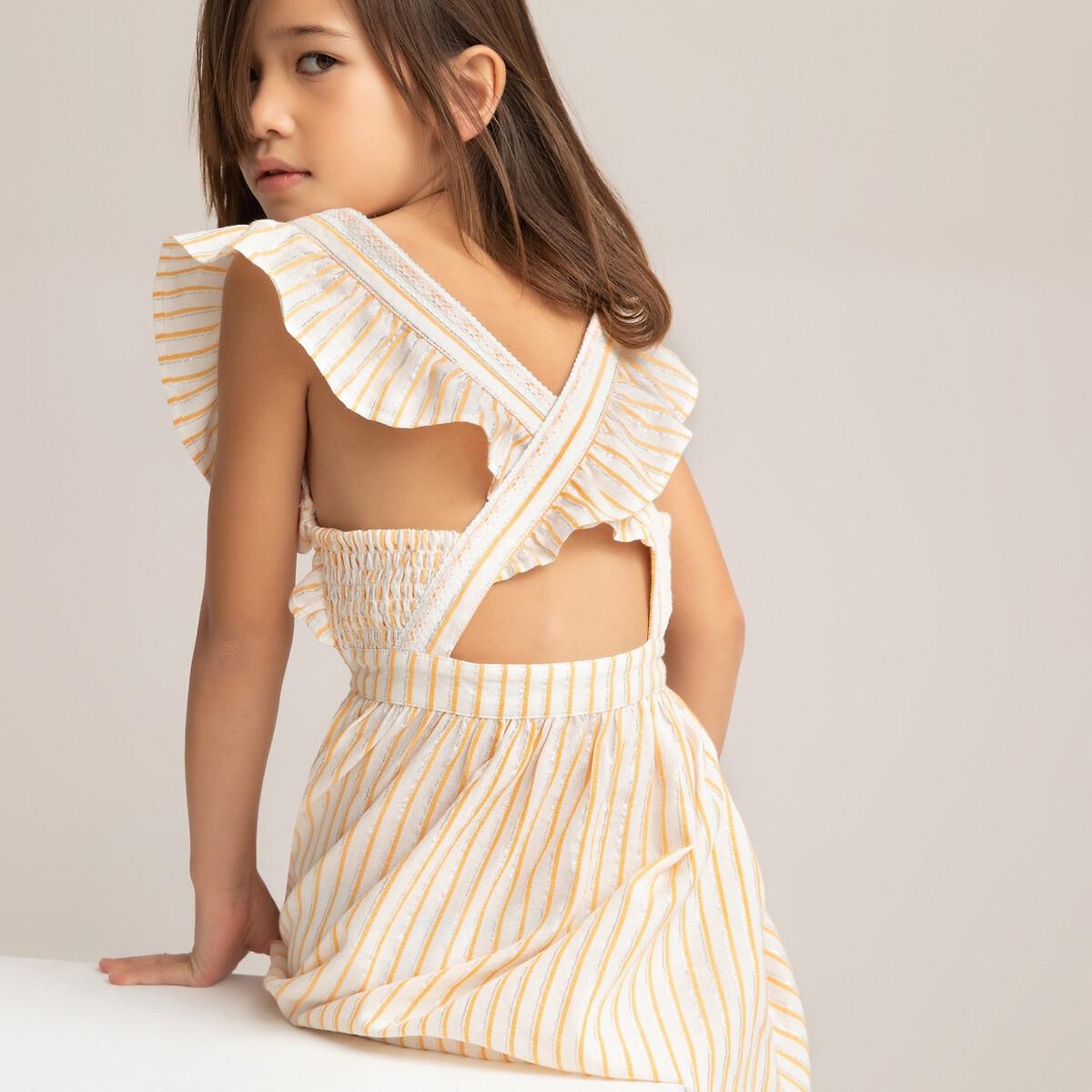 Платье LaRedoute Без рукавов с воланами 3-14 лет 5 лет - 108 см бежевый