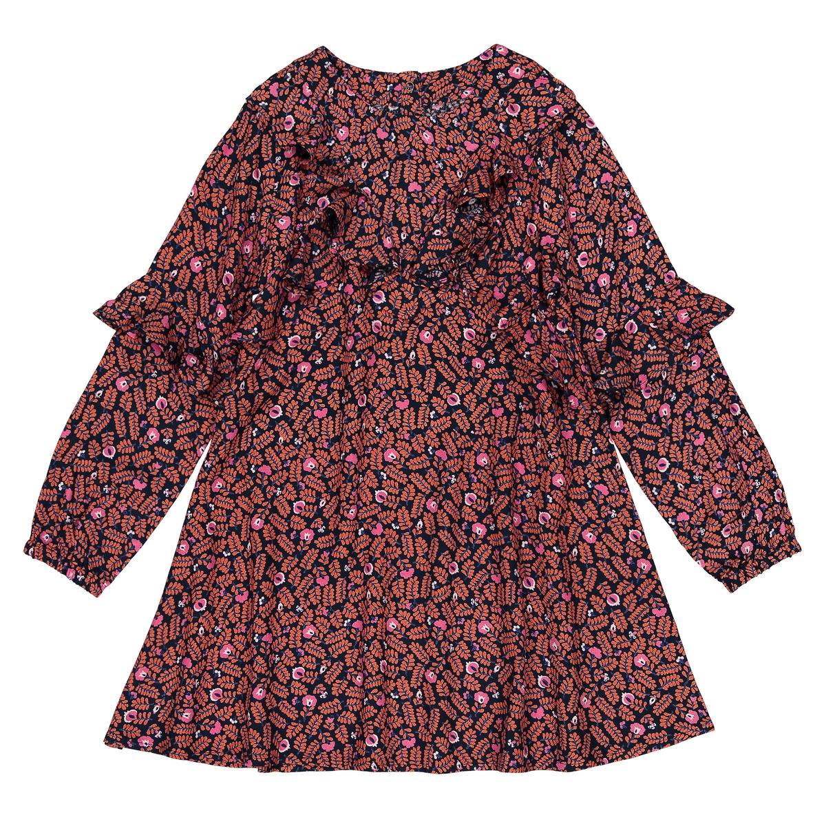 Платье с рисунком воланами, 3-12 лет