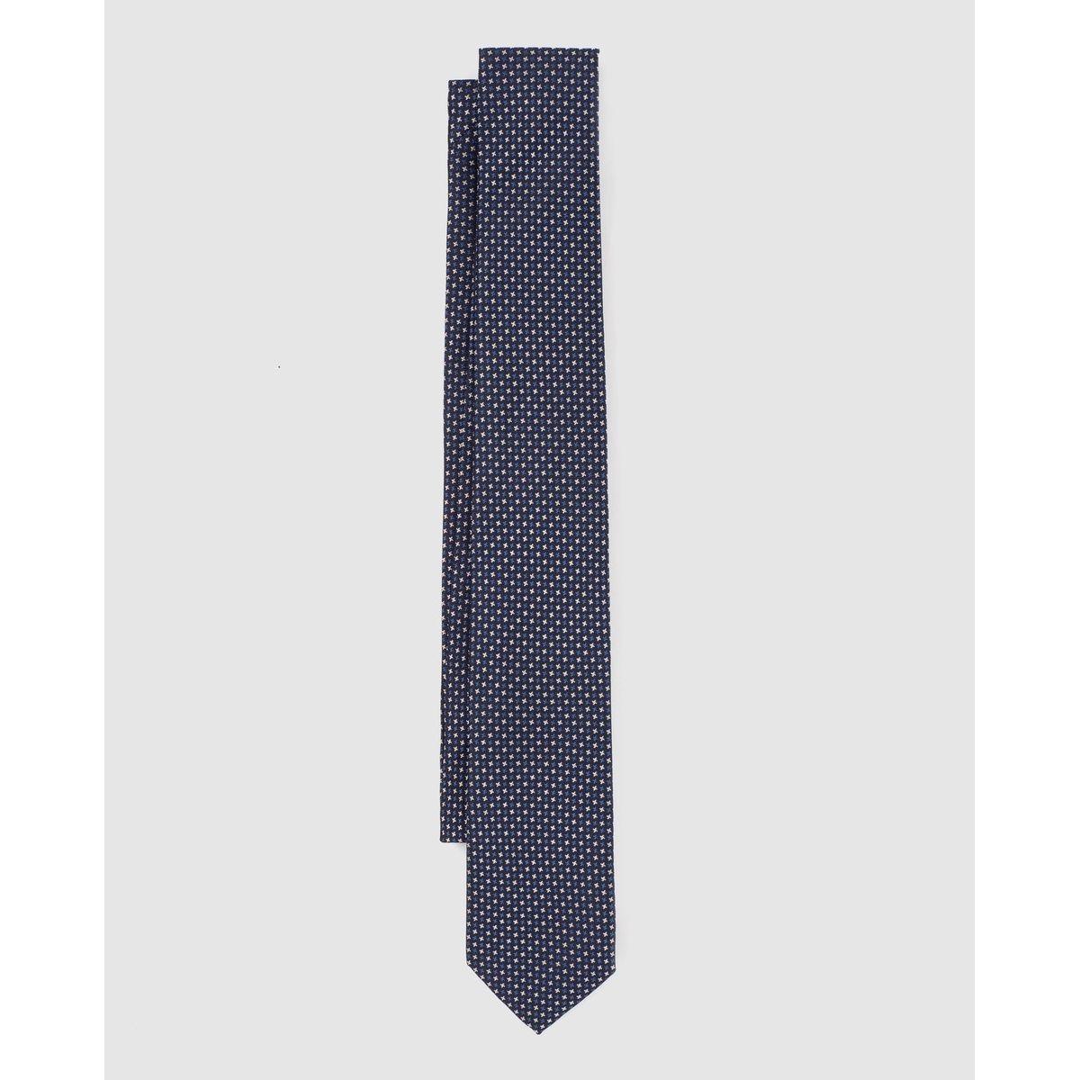 Cravate en soie imprimé mini étoiles