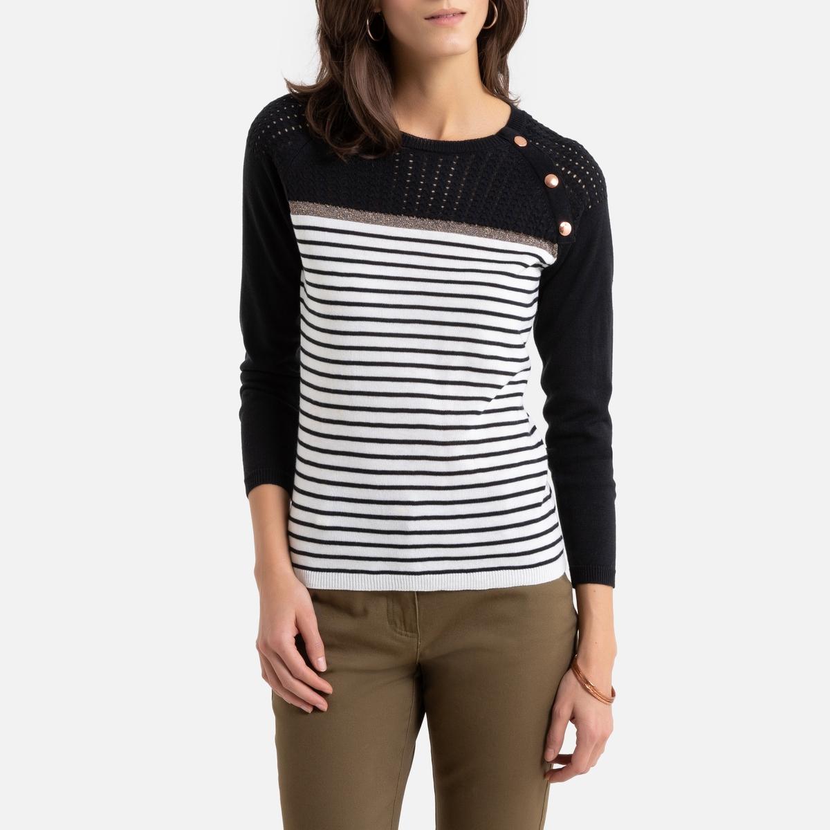 Пуловер La Redoute — С круглым вырезом из тонкого трикотажа в полоску 42/44 (FR) - 48/50 (RUS) бежевый