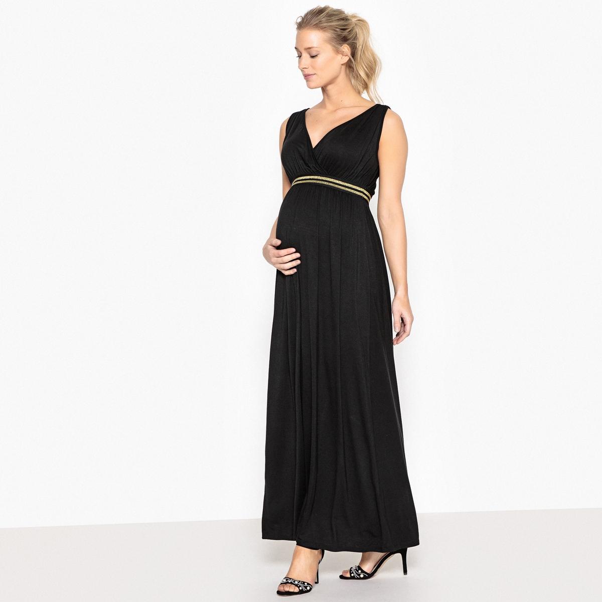 Платье длинное с блестящей резинкой для периода беременностиОписание:Детали •  Форма : прямая •  Длина ниже колен •  Тонкие бретели    •   V-образный вырезСостав и уход •  95% вискозы, 5% эластана •  Следуйте советам по уходу, указанным на этикеткеМодель адаптирована для периода беременности  •  Длина : 134 см<br><br>Цвет: черный
