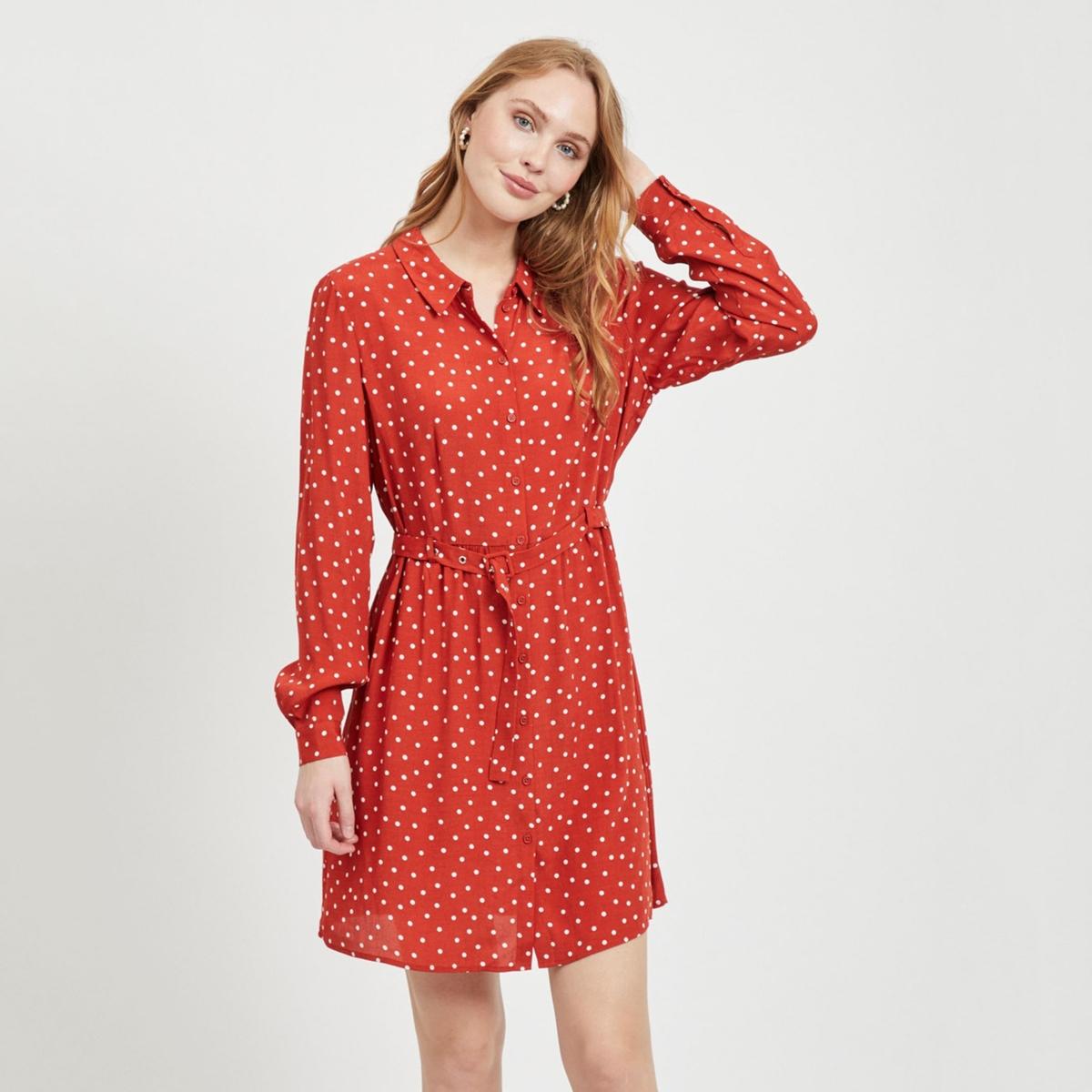 Платье-рубашка La Redoute Расклешенная с рисунком в горошек 34 (FR) - 40 (RUS) красный цены