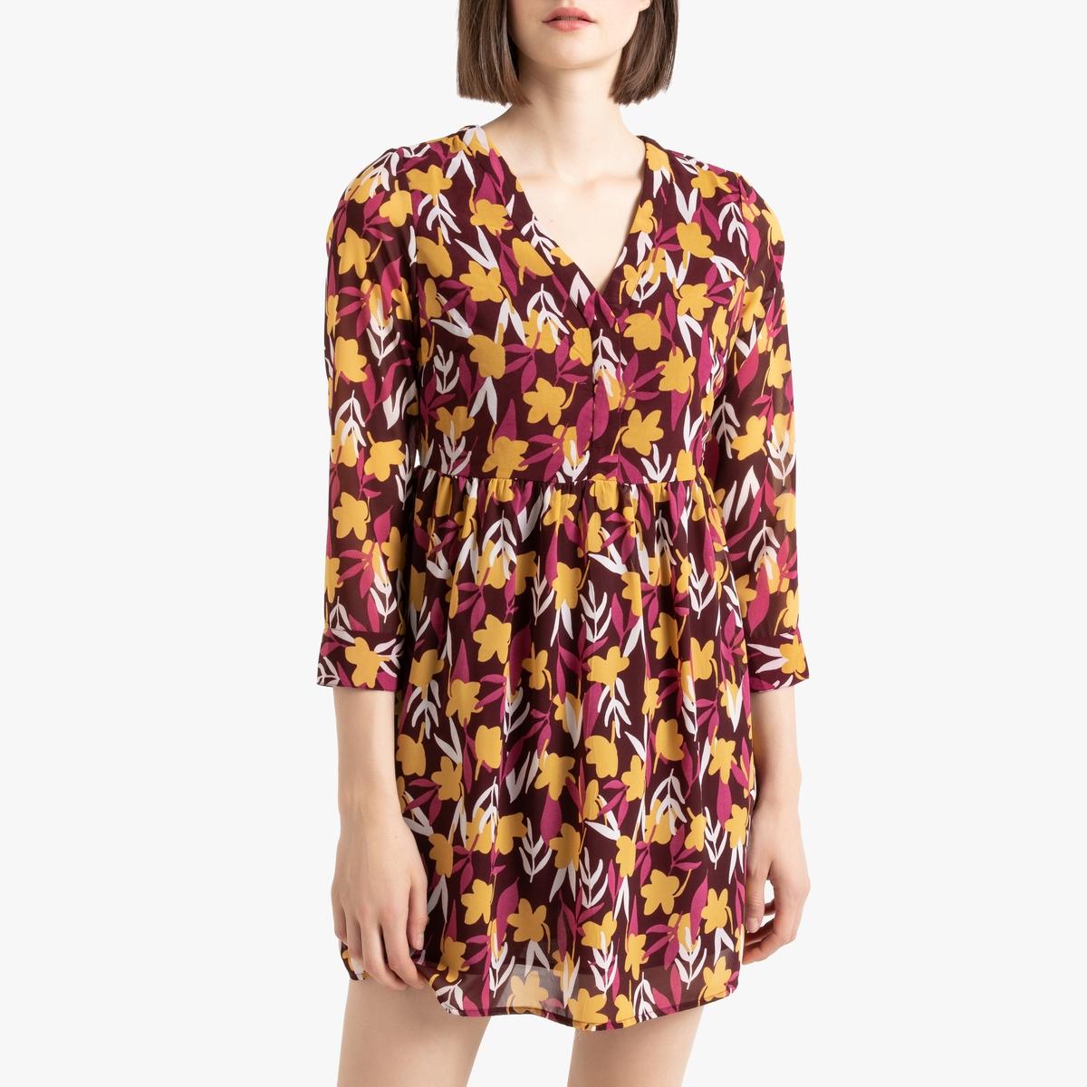 цена Платье La Redoute Расклешенное с цветочным принтом и V-образным вырезом XS красный онлайн в 2017 году