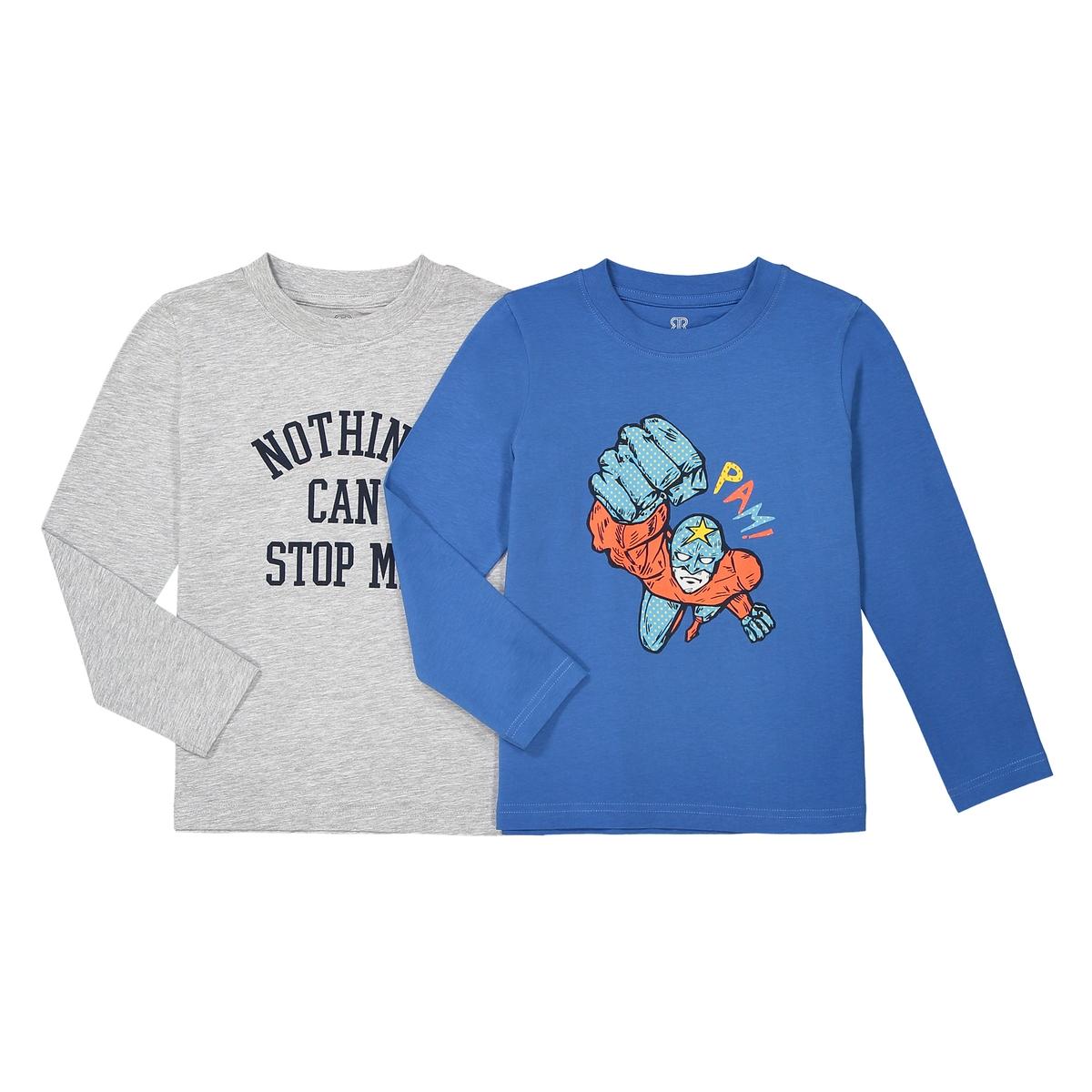 Комплект из 2 футболок с длинными рукавами 3-12 летОписание:Детали •  Длинные рукава •  Круглый вырез •  Рисунок спередиСостав и уход •  100% хлопок •  Температура стирки 30° •  Гладить при низкой температуре / не отбеливать • Барабанная сушка на слабом режиме       •  Сухая чистка запрещена<br><br>Цвет: серый + синий<br>Размер: 12 лет -150 см.10 лет - 138 см.8 лет - 126 см.6 лет - 114 см.4 года - 102 см.3 года - 94 см