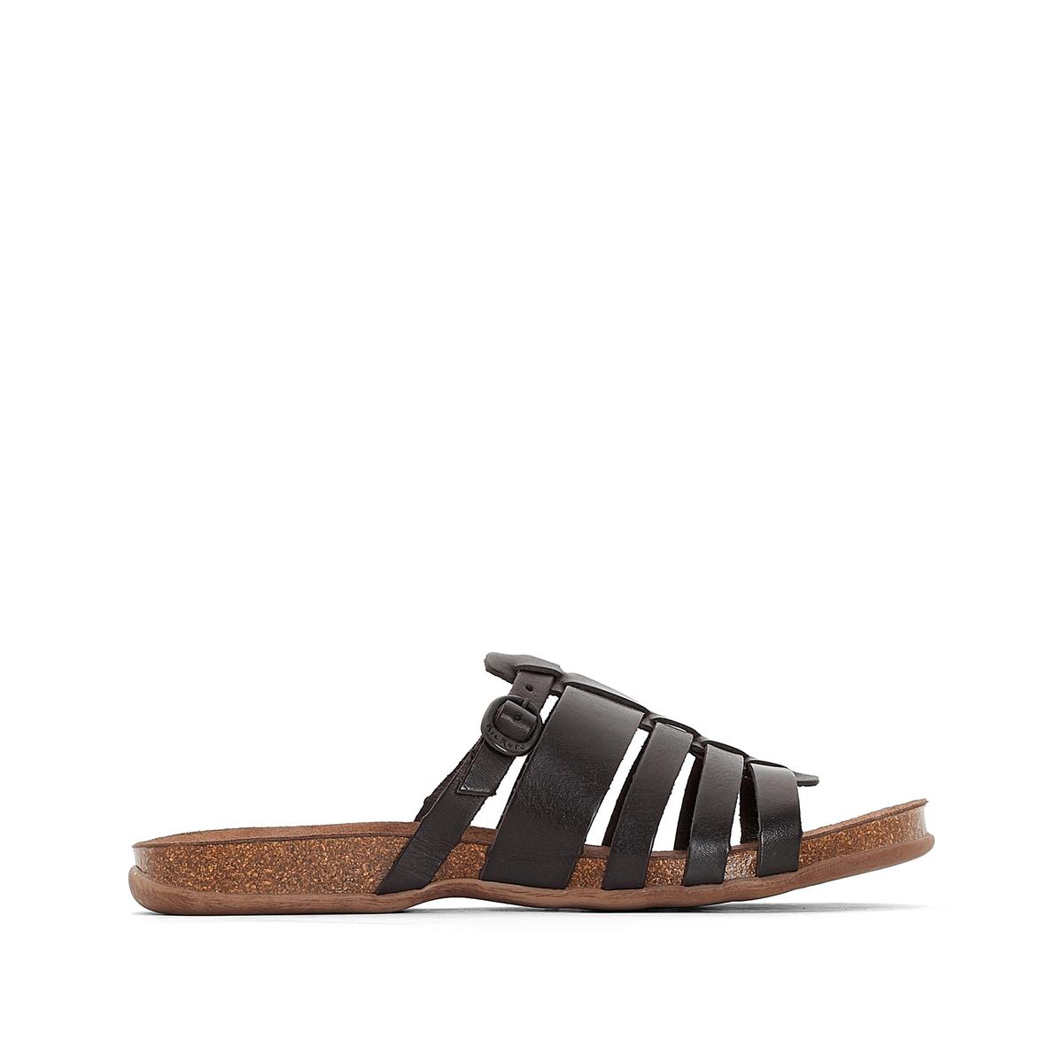 Босоножки кожаные AnaelleВерх: кожа.     Подкладка: без подкладки.Стелька: невыделанная кожа.Подошва: каучук.    Высота каблука: 2 см.    Форма каблука: плоский каблук.Мысок: открытый.Застежка: ремешок с пряжкой.<br><br>Цвет: черный