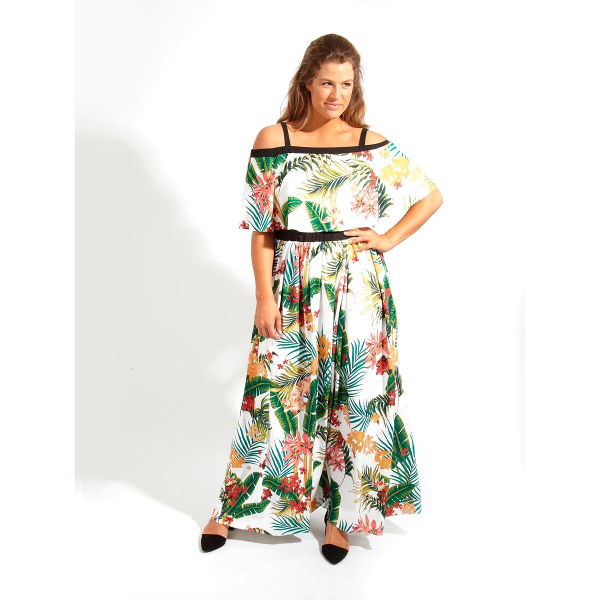 ПлатьеПлатье длинное KOKO BY KOKO. Платье макси с красивым вырезом бардо . 100% полиэстер<br><br>Цвет: набивной рисунок<br>Размер: 46 (FR) - 52 (RUS)