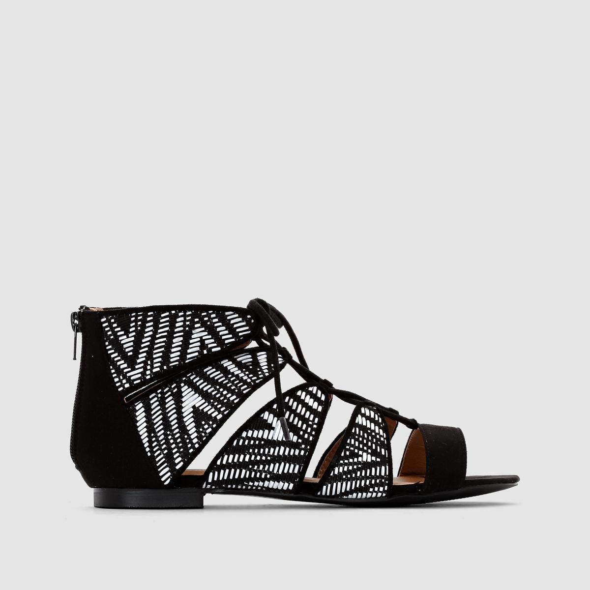Босоножки босоножки кожаные на плоском каблуке la conquise