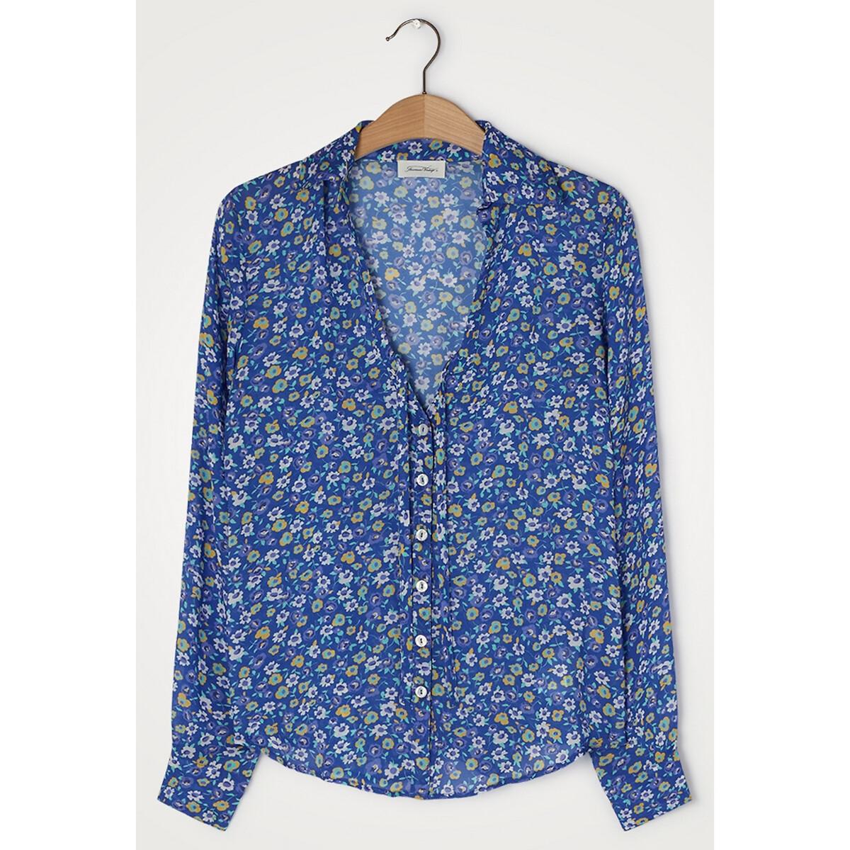Блузка LaRedoute С v-образным вырезом принтом и короткими рукавами ABOODI S синий