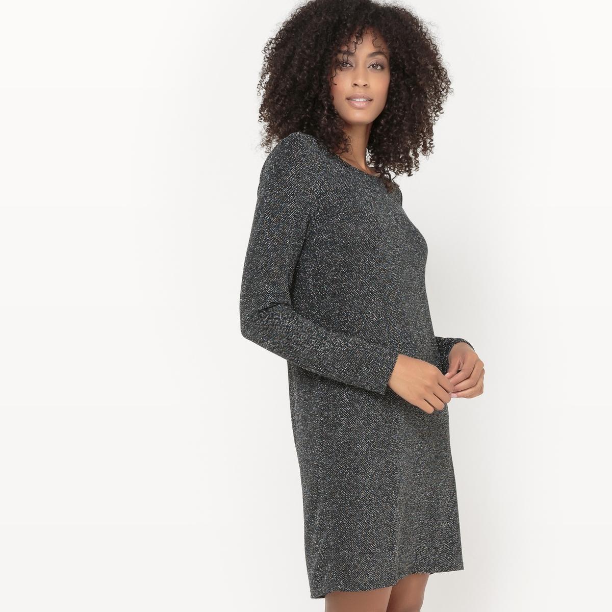 Платье с длинными рукавами VITINNY LUOSQUARE DRESSСостав и описание :Материал : 75% полиамид, 20% металлизированные волокнаМарка : VILA.<br><br>Цвет: черный