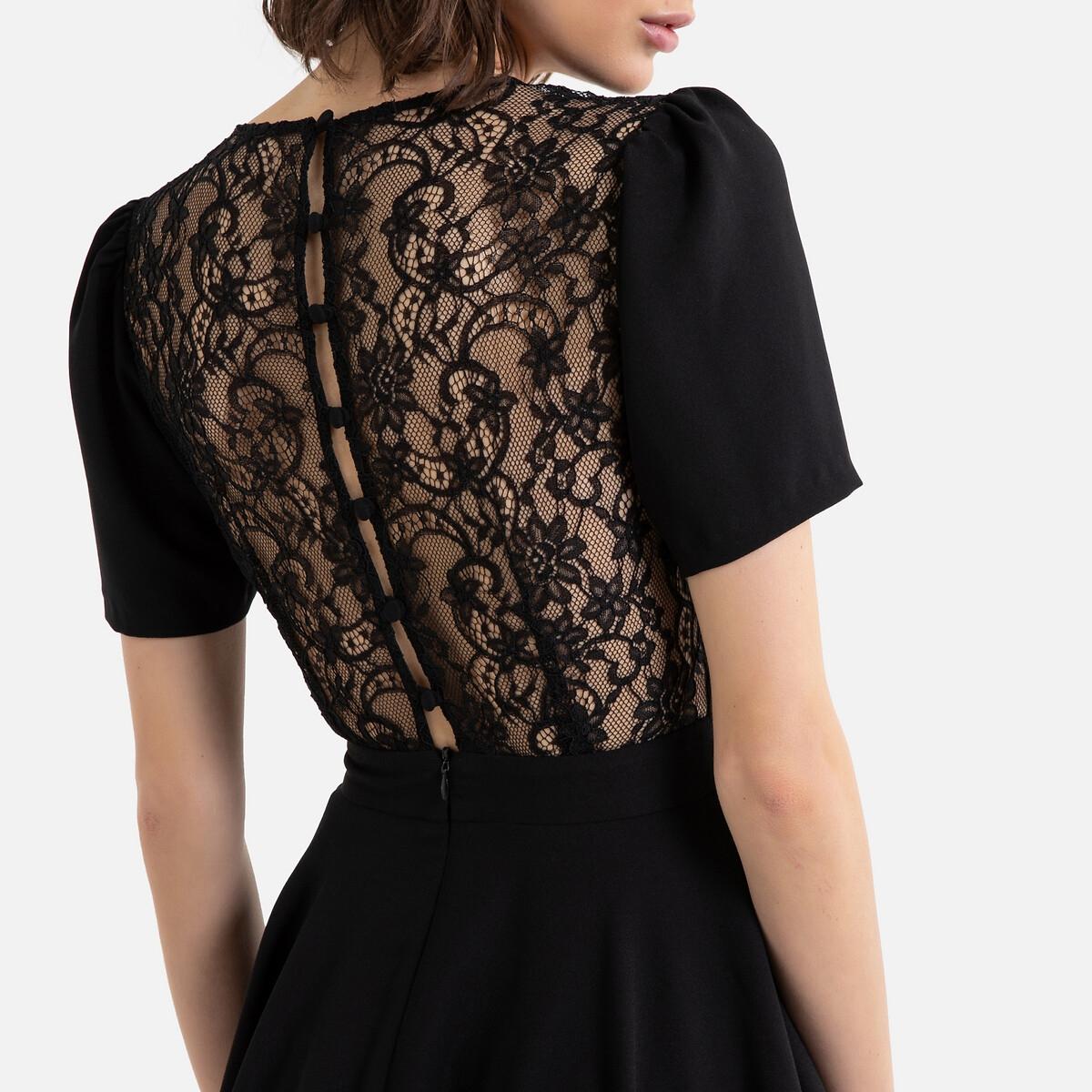 Платье La Redoute Невесты короткое с короткими рукавами 40 (FR) - 46 (RUS) черный