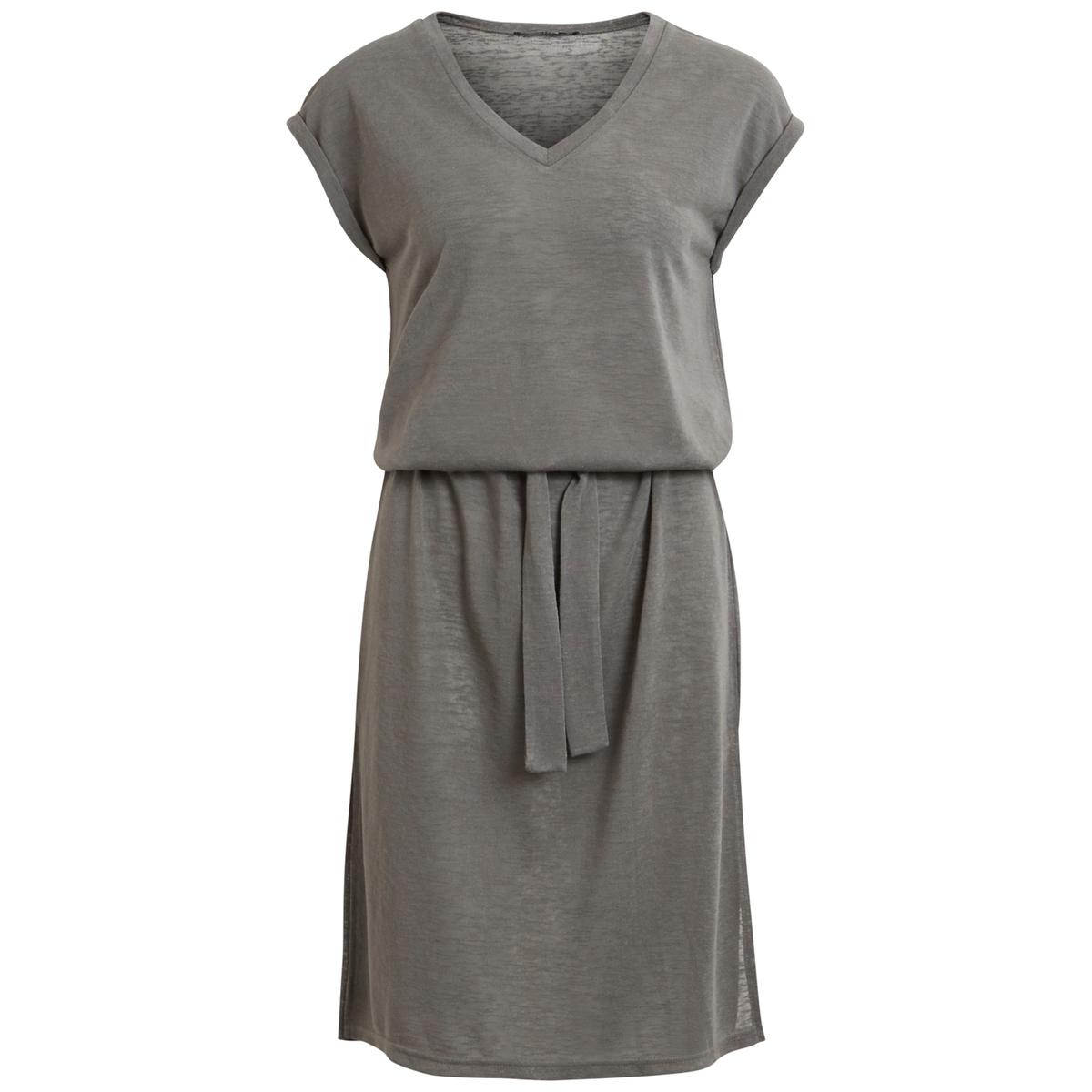 Платье с короткими рукавамиДетали  •  Форма : прямая •  Длина до колен •  Короткие рукава    •   V-образный вырез Состав и уход  •  45% вискозы, 55% полиэстера •  Следуйте рекомендациям по уходу, указанным на этикетке изделия<br><br>Цвет: серо-зеленый